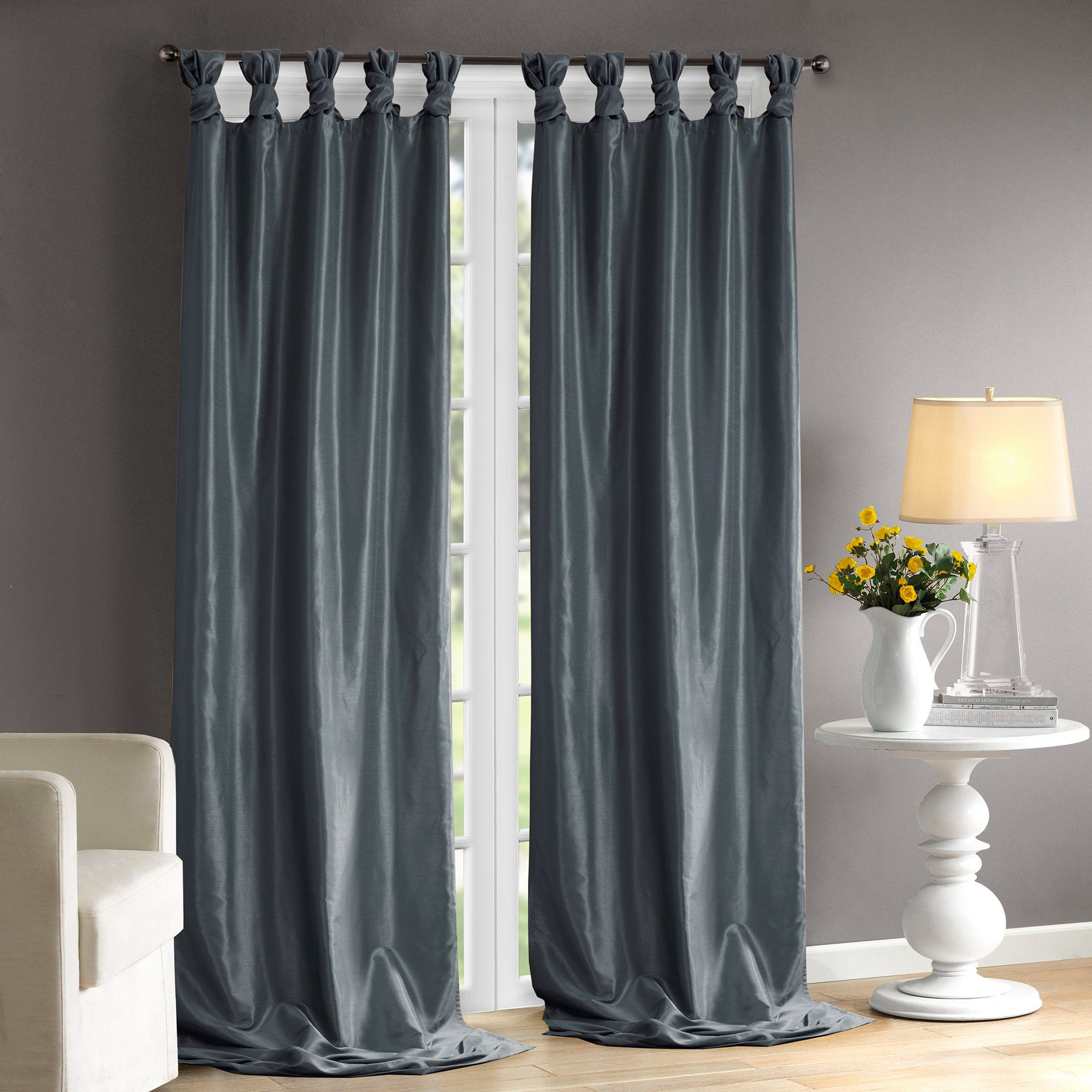 Rivau Solid Regular Tab Top Curtain Panels (Gallery 1 of 20)