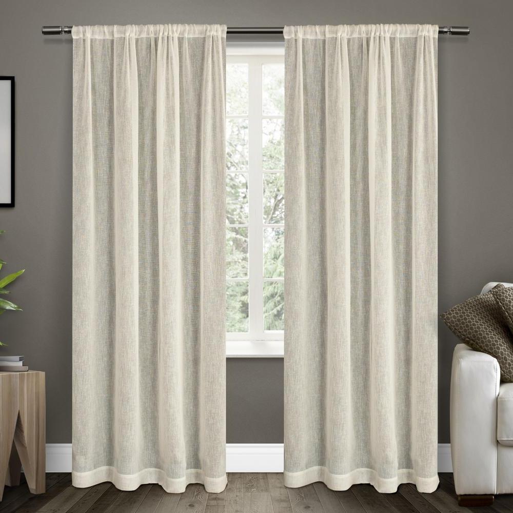 Rod Pocket Curtain Panels Regarding Popular Belgian 50 In. W X 96 In. L Sheer Rod Pocket Top Curtain Panel In Snowflake  (2 Panels) (Gallery 2 of 20)