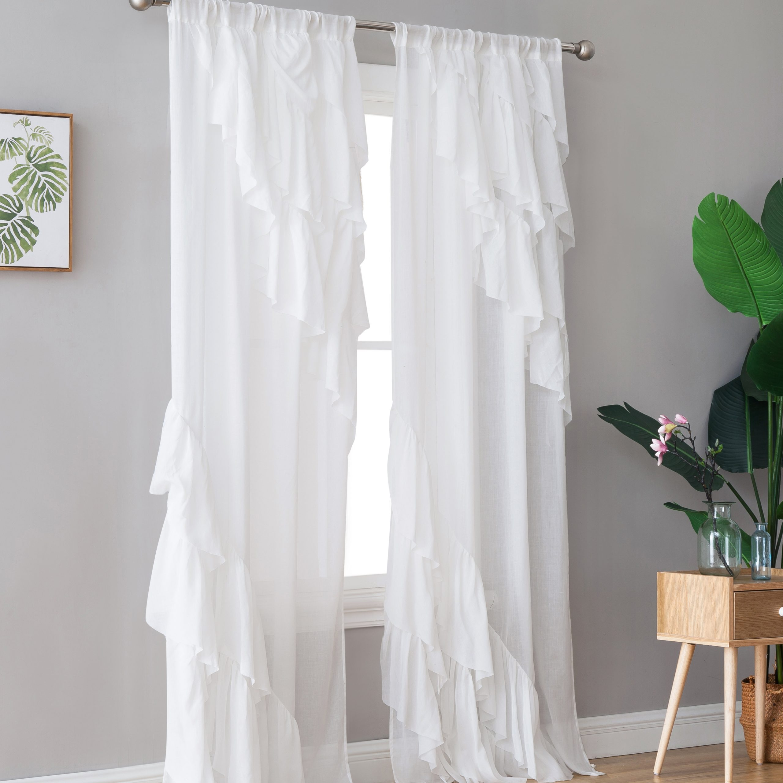 Rome Window Solid Semi Sheer Single Curtain Panel Inside Trendy Emily Sheer Voile Solid Single Patio Door Curtain Panels (View 13 of 20)