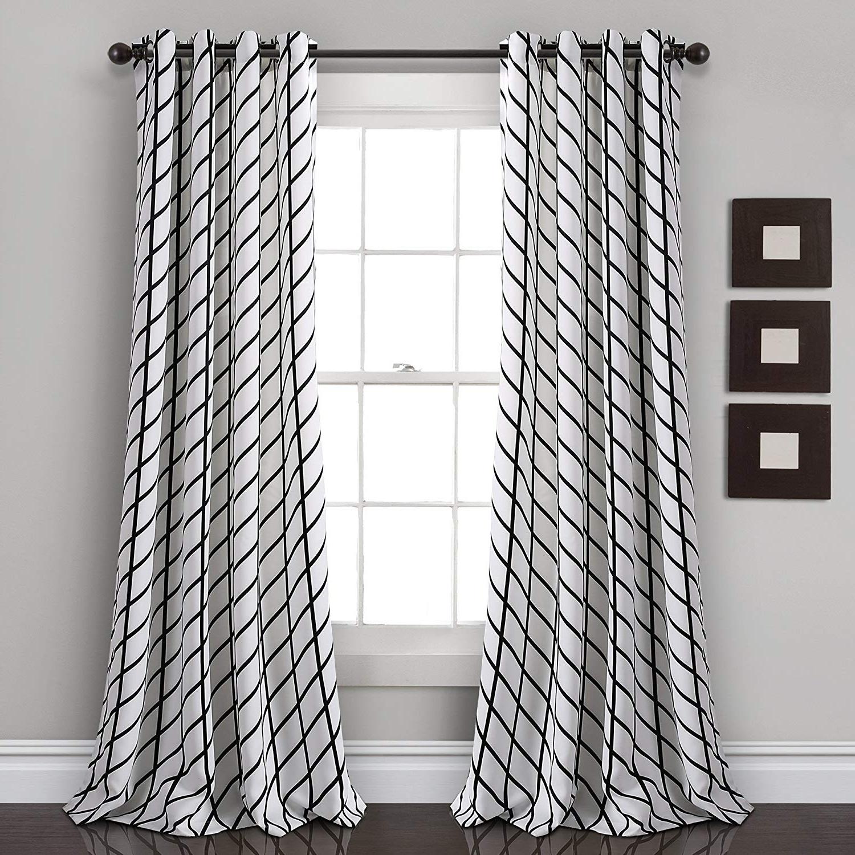 "Room Darkening Window Curtain Panel Pairs Inside Well Liked Lush Decor Feather Arrow Geo Room Darkening Window Curtain Panel Pair 84"" X 52"" White & Black (View 5 of 20)"