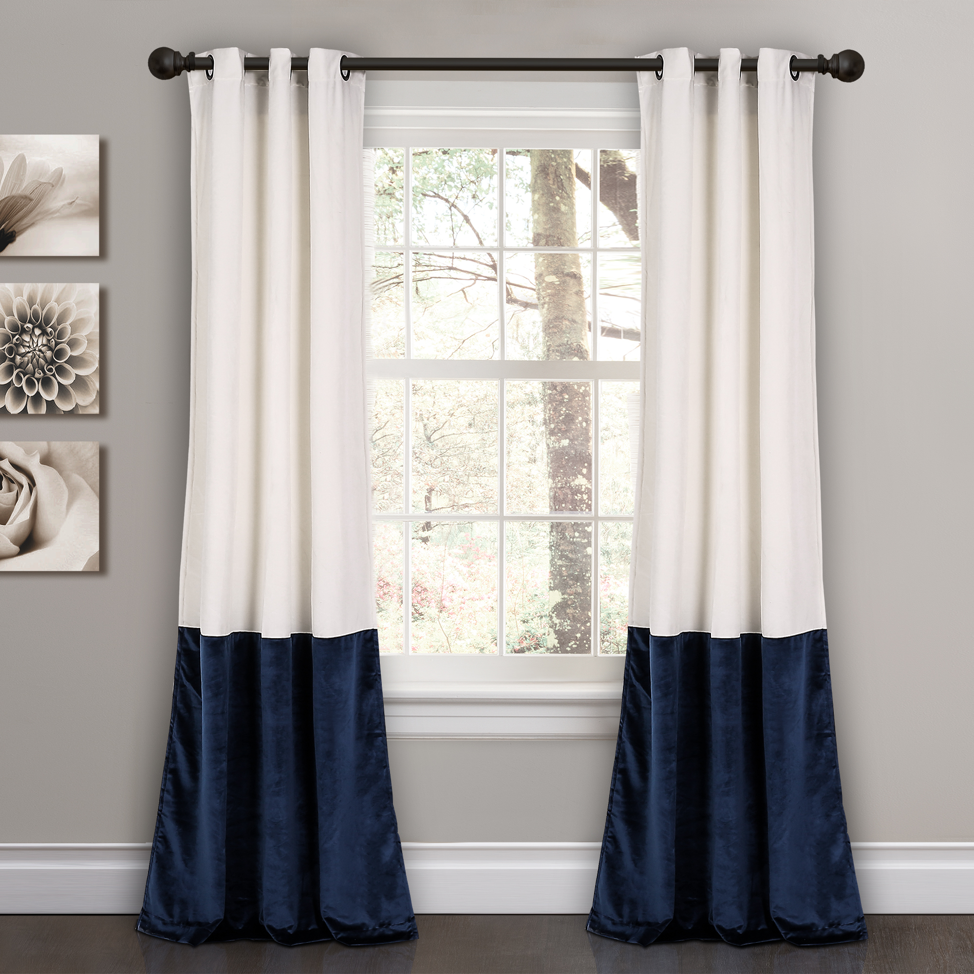 "Room Darkening Window Curtain Panel Pairs Within Well Known Details About Prima Velvet Color Block Room Darkening Window Curtain Panel  Pair, 84"" X 38"" (Gallery 15 of 20)"