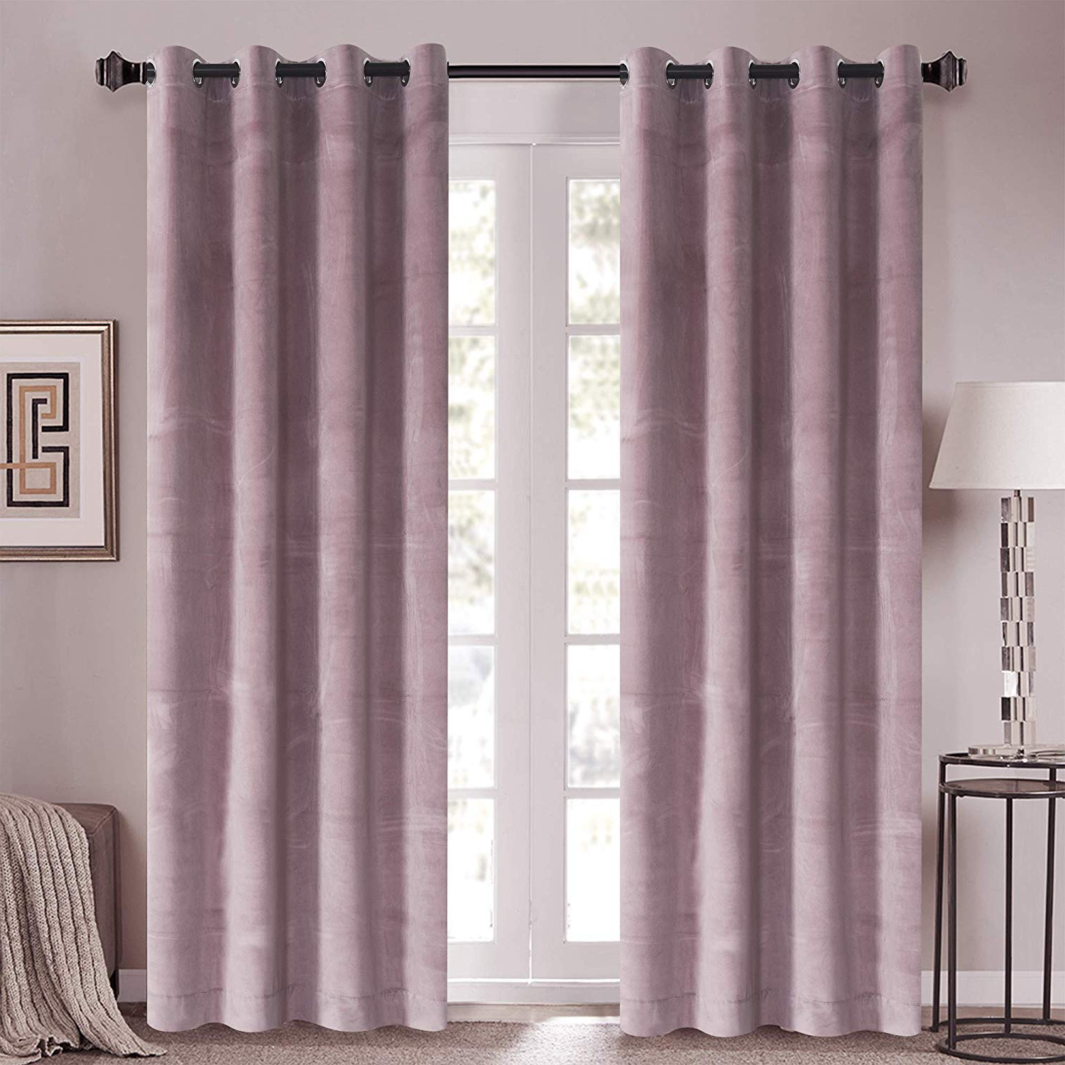"Roslynwood Sakura Pink Velvet Drapes Solid Room Darkening Rod Pocket Window Curtain Panel Pair Red Wine, 50"" X 84"" Rod Pocket For Latest Velvet Dream Silver Curtain Panel Pairs (View 7 of 20)"