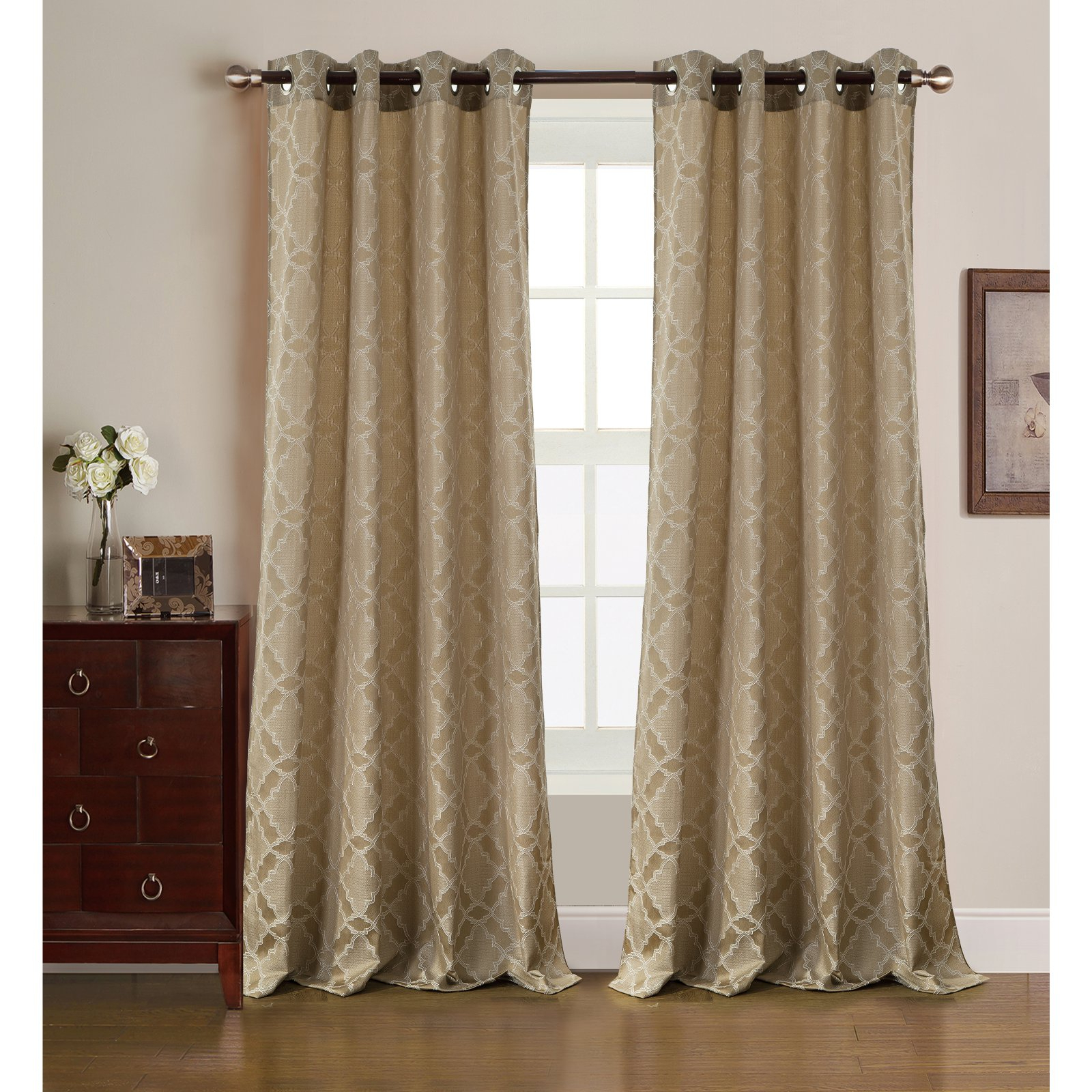 Rt Designers Collection Morgan Jacquard Grommet Curtain Inside Newest Gracewood Hollow Tucakovic Energy Efficient Fabric Blackout Curtains (Gallery 6 of 20)