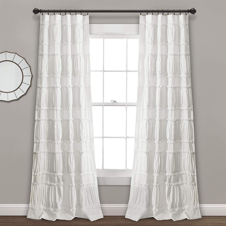 "Ruffle Diamond Curtain Panel Pairs For Favorite Lush Decor Nova Ruffle Window Curtain Panel Pair, 84"" X 42"", White (View 10 of 20)"