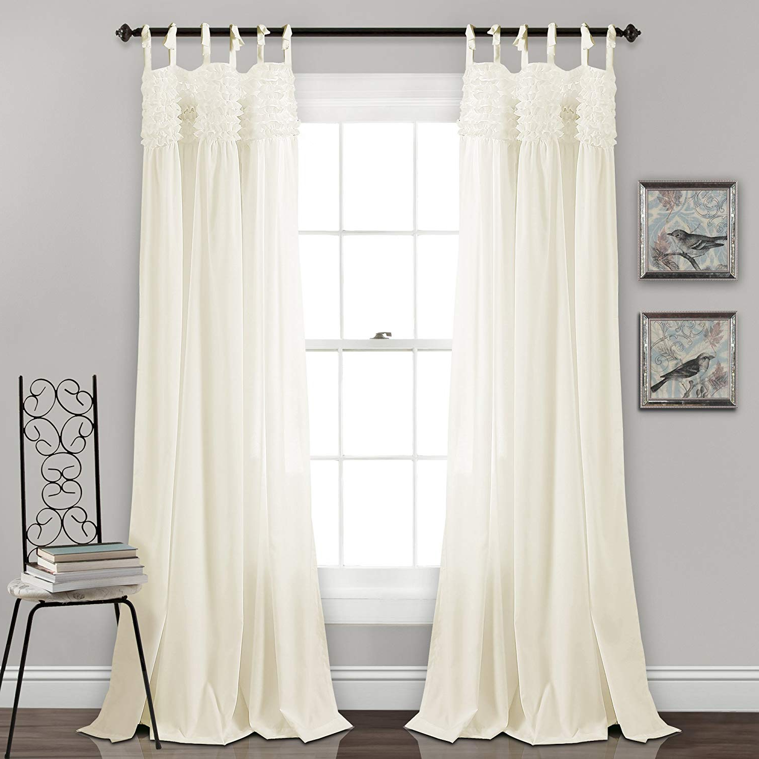 "Ruffle Diamond Curtain Panel Pairs Pertaining To Well Known Lush Decor Lydia Curtains Ruffle Window Panel Set For Living, Dining,  Bedroom (Pair), 84"" X 40"", Ivory (Gallery 17 of 20)"