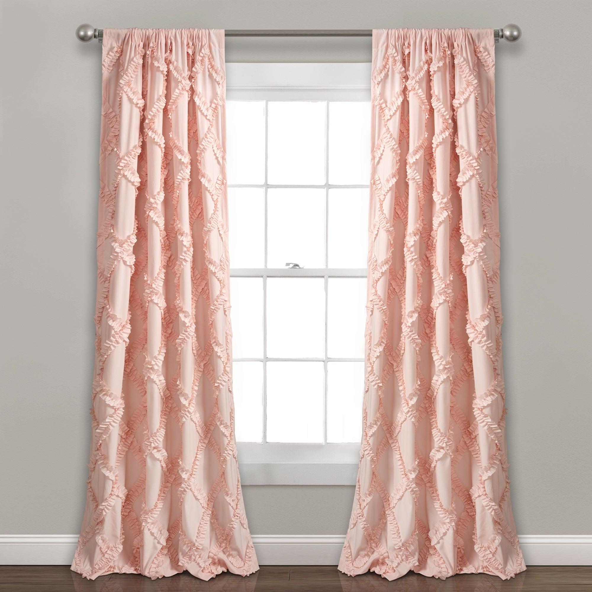 Ruffle Diamond Curtain Panel Pairs Regarding Trendy Lush Decor Ruffle Diamond Curtain Panel Pair (View 6 of 20)