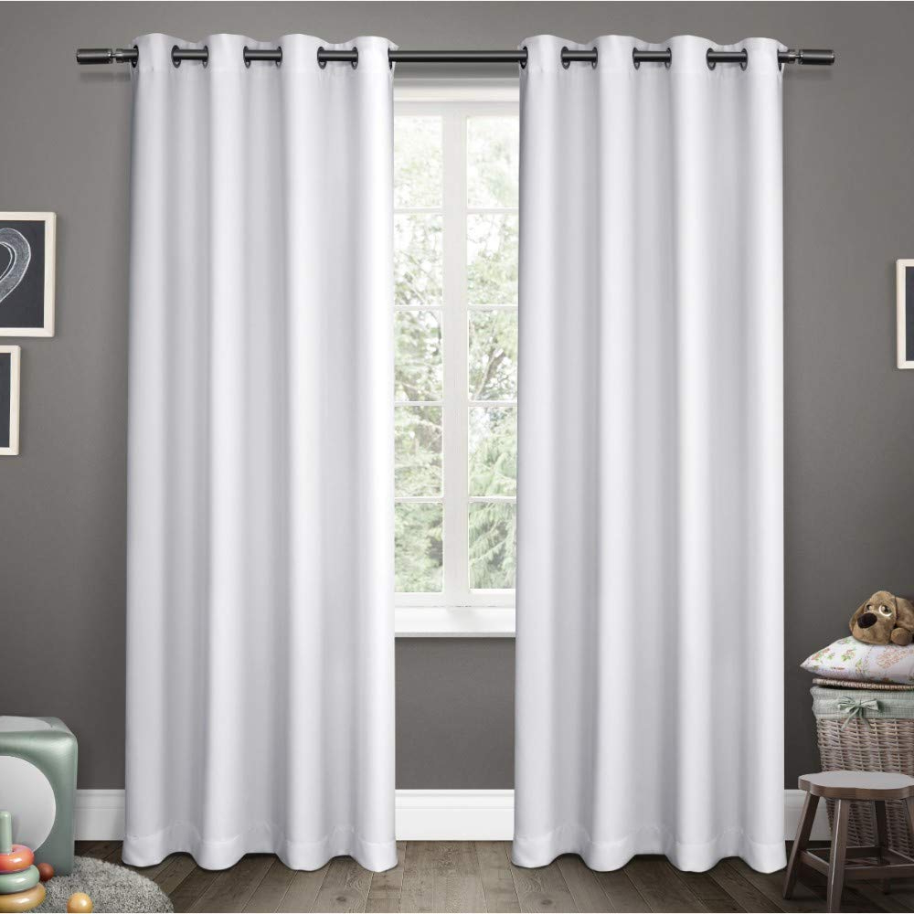 Sateen Twill Weave Insulated Blackout Window Curtain Panel Pairs Inside Preferred Exclusive Home Curtains Sateen Kids Twill Weave Blackout Window Curtain  Panel Pair With Grommet Top, 52X96, Winter White, 2 Piece (View 16 of 20)