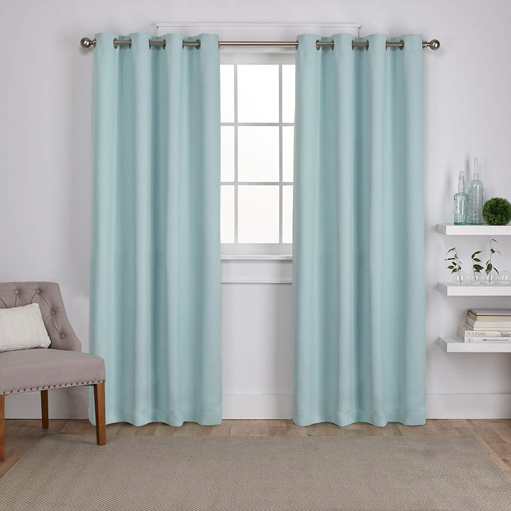 Sateen Twill Weave Insulated Blackout Window Curtain Panel Pairs Regarding Fashionable Exclusive Home Curtains Sateen Twill Weave Blackout Window Curtain Panel Pair With Grommet Top, 52X84, Seafoam, 2 Piece (View 2 of 20)