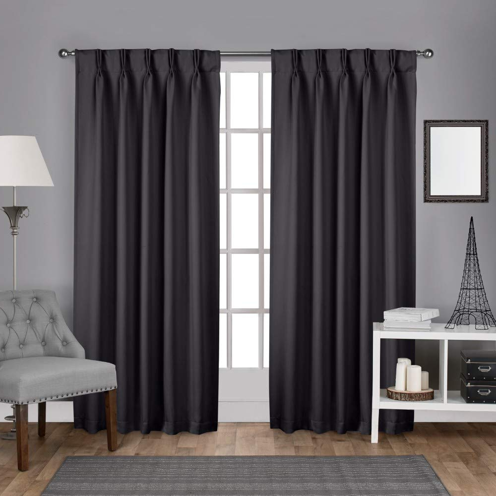 Sateen Woven Blackout Curtain Panel Pairs With Pinch Pleat Top With Regard To Most Recent Exclusive Home Sateen Twill Woven Blackout Pinch Pleat Curtain Panel Pair, Charcoal (View 4 of 20)