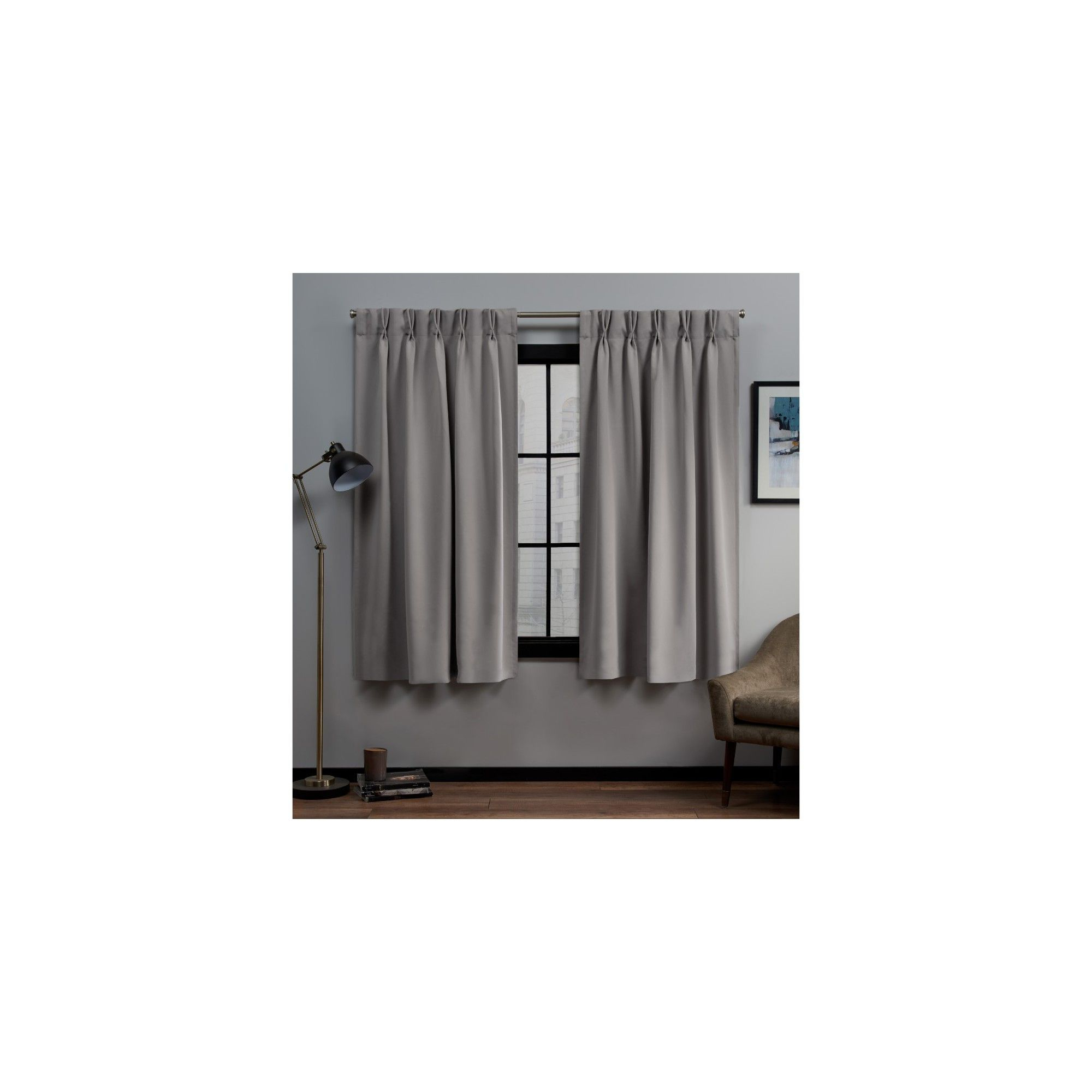 """Sateen Woven Blackout Curtain Panel Pairs With Pinch Pleat Top With Regard To Well Liked 30""""x63"""" Sateen Twill Woven Blackout Pinch Pleat Window (View 16 of 20)"""