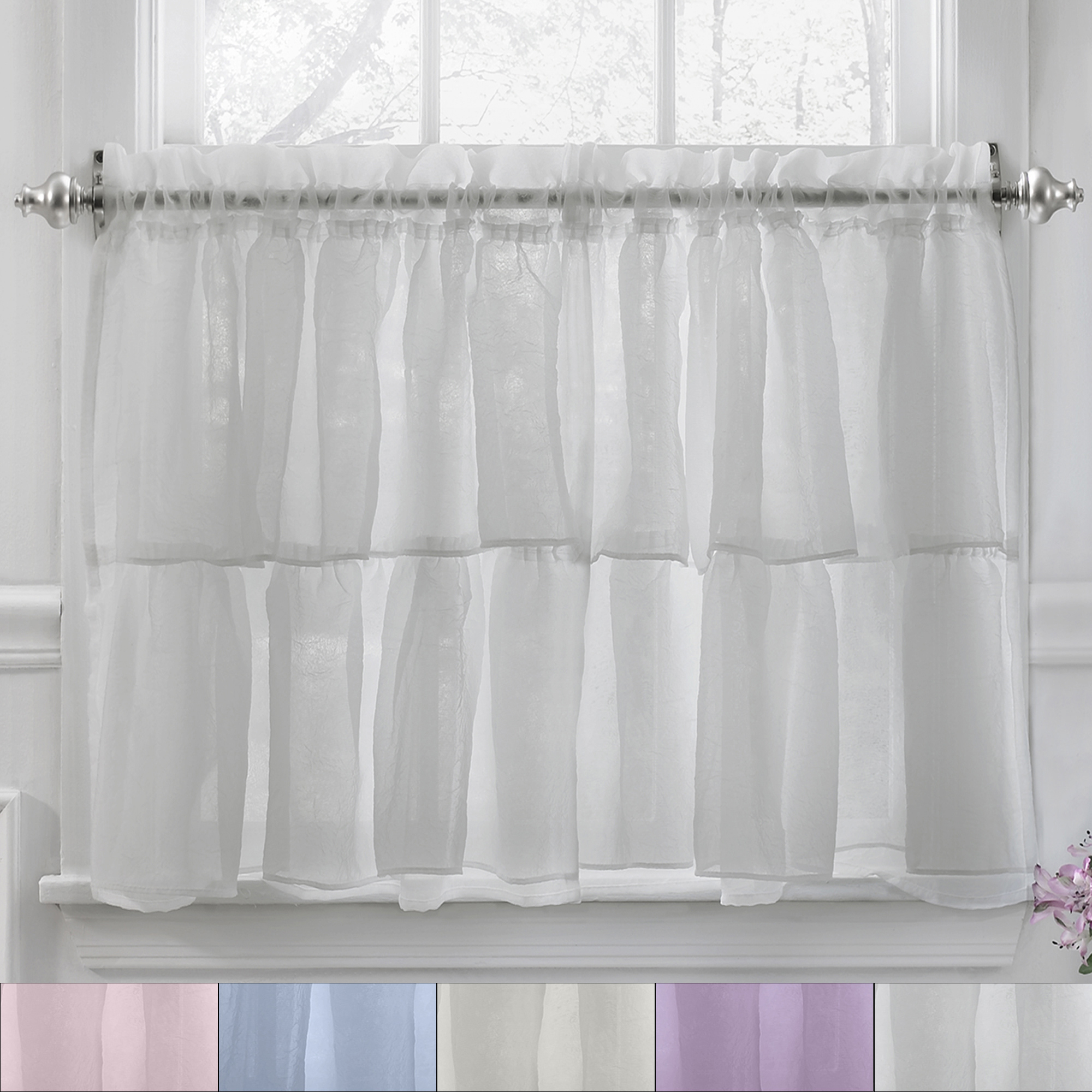 """Sheer Voile Ruffled Tier Window Curtain Panels Intended For Widely Used Details About Gypsy Crushed Voile Ruffle Kitchen Window Curtain 36"""" Tier  Pair (View 10 of 20)"""