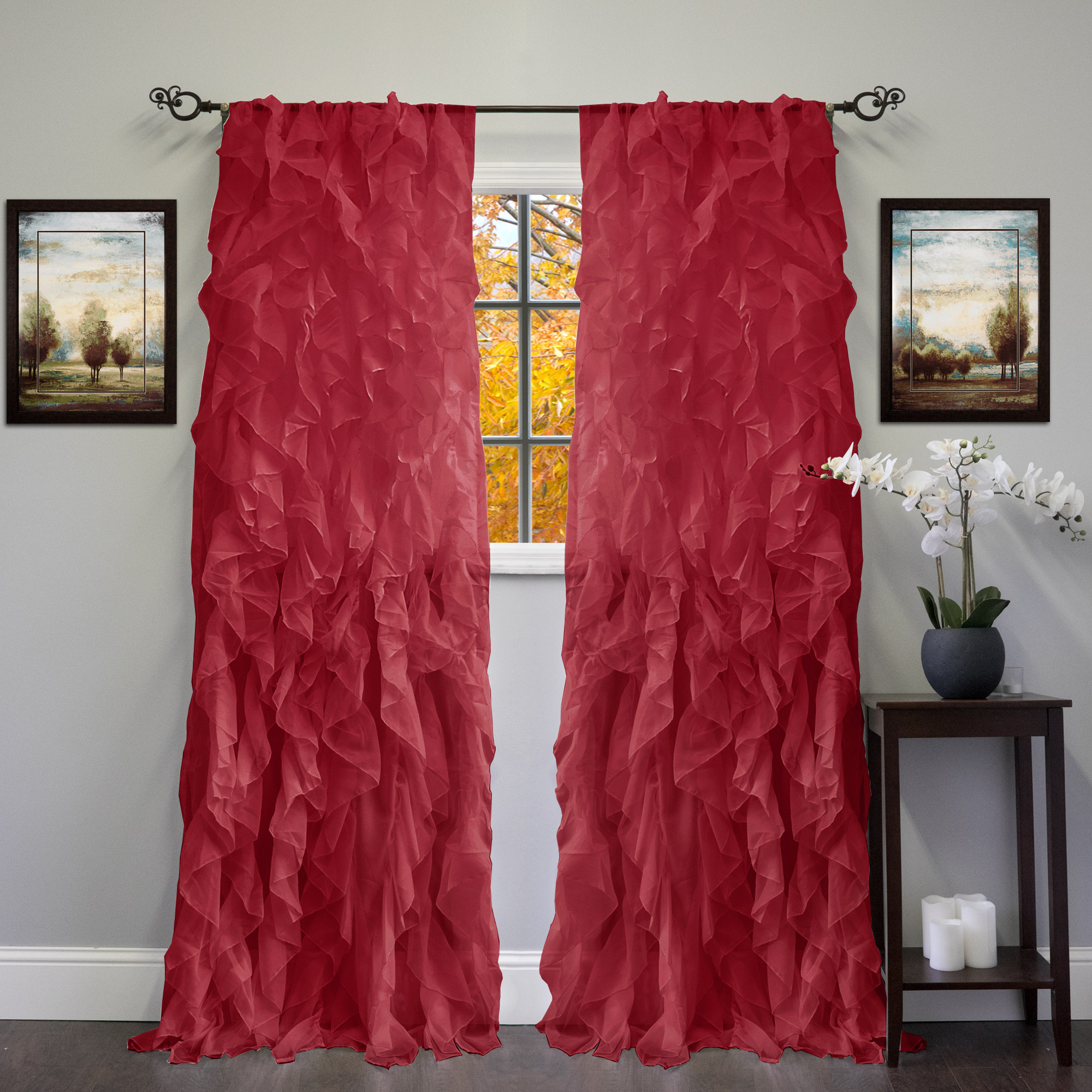 "Sheer Voile Ruffled Tier Window Curtain Panels Pertaining To Current Chic Sheer Voile Vertical Ruffled Tier Window Curtain Single Panel 50"" X 84"" (View 3 of 20)"