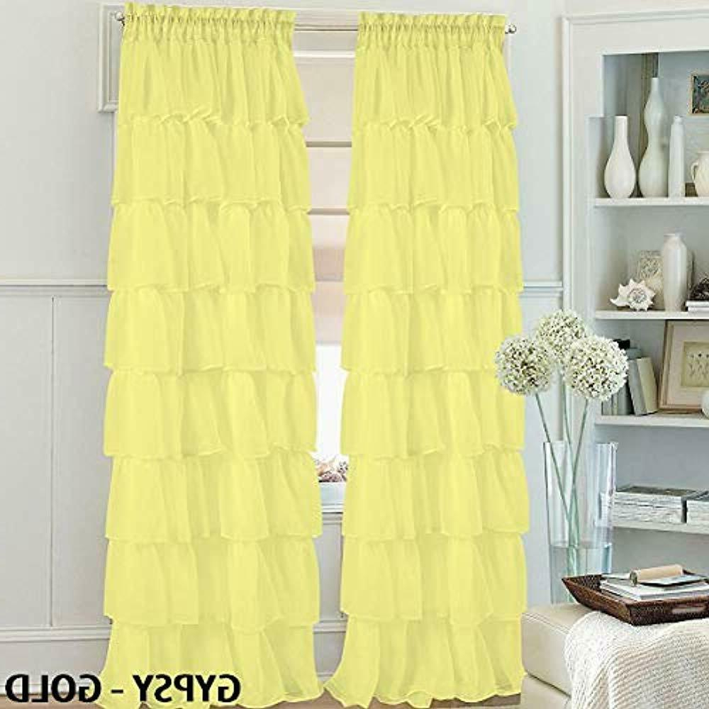 """Sheer Voile Ruffled Tier Window Curtain Panels Throughout Most Recent Set Of Panels 2 Gypsy Ruffle Window Curtain 84"""" Long, Semi Sheer Voile Rod (View 12 of 20)"""