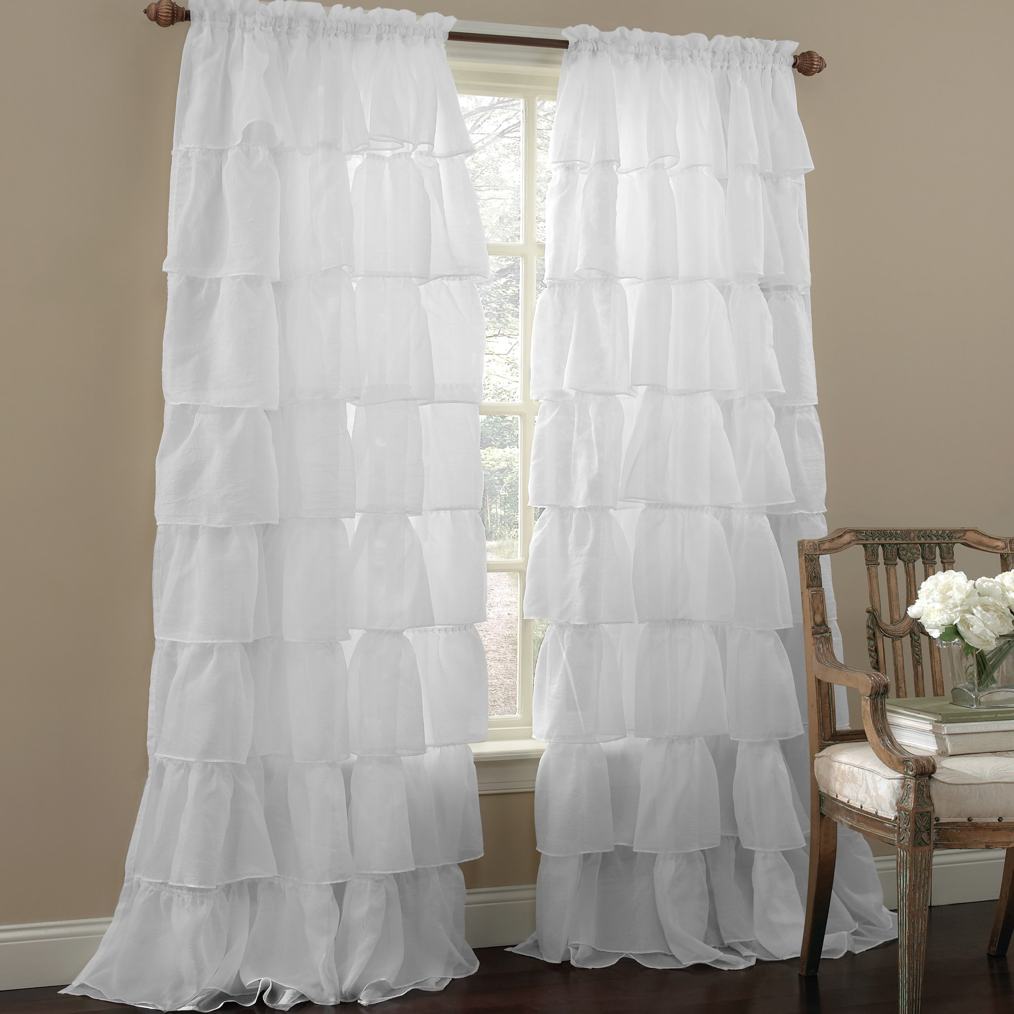 Sheer Voile Ruffled Tier Window Curtain Panels With Regard To Latest Crushed Voile Bouffant Assorted Colors 60 Inch X 84 Inch (View 16 of 20)