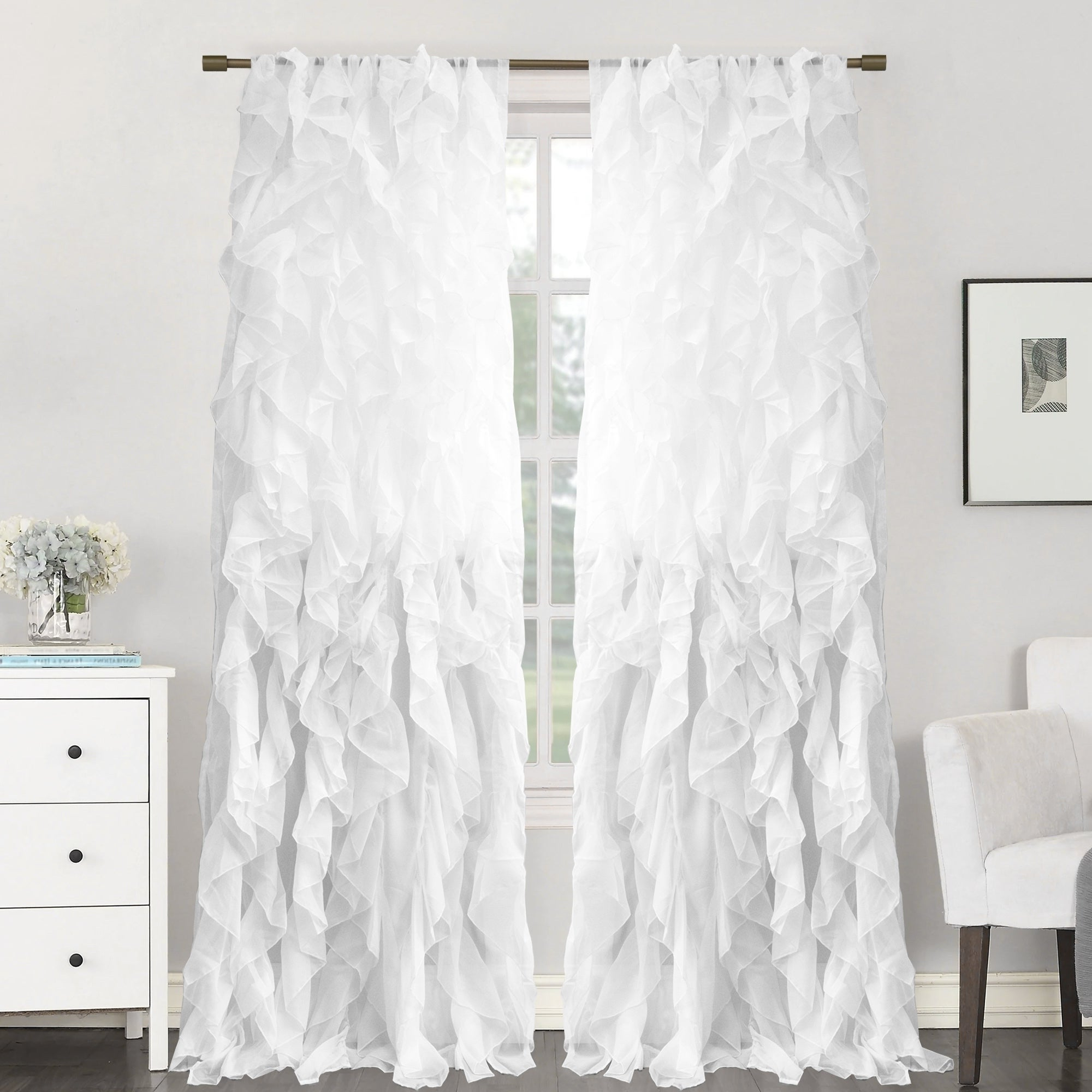 "Sheer Voile Ruffled Tier Window Curtain Panels Within Most Recent Sweet Home Collection Sheer Voile Waterfall Ruffled Tier 84 Inch Single Curtain Panel – 84"" Long X 50"" Wide (View 6 of 20)"