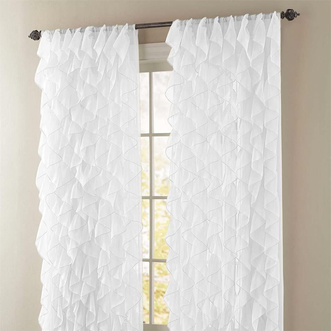 "Sheer Voile Waterfall Ruffled Tier Single Curtain Panels In Fashionable Cascade Ruffled Curtain Panel, 50"" Wide84"" Long, White, Lorraine Home (View 10 of 20)"