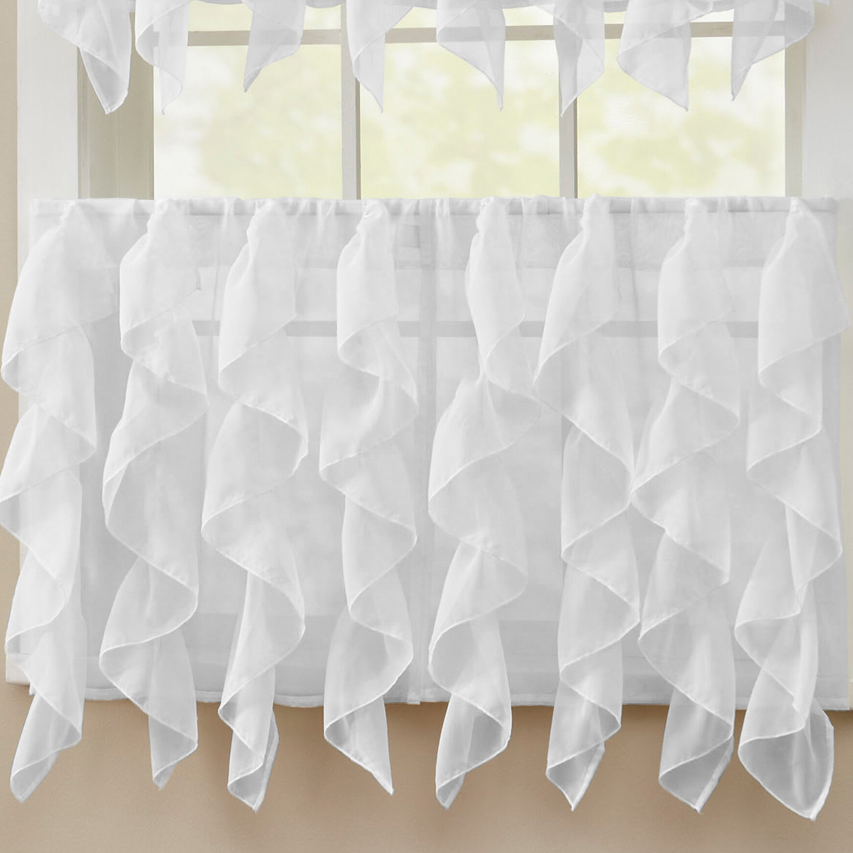 Sheer Voile Waterfall Ruffled Tier Single Curtain Panels In Most Recently Released Frye Elegant Sheer Voile Vertical Ruffle Window Cafe Curtain (View 11 of 20)