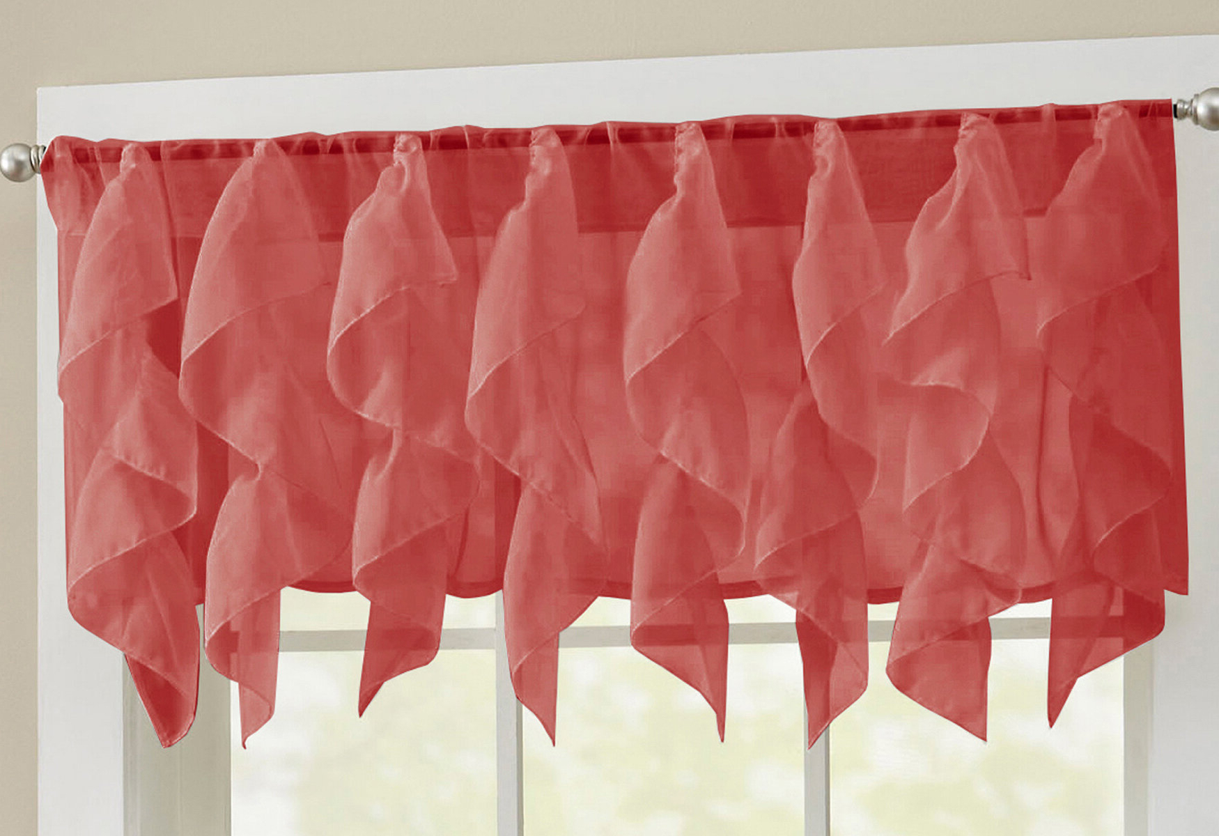 Sheer Voile Waterfall Ruffled Tier Single Curtain Panels Throughout Well Known Elegant Sheer Voile Vertical Ruffle Window Kitchen Tier Curtain (View 14 of 20)