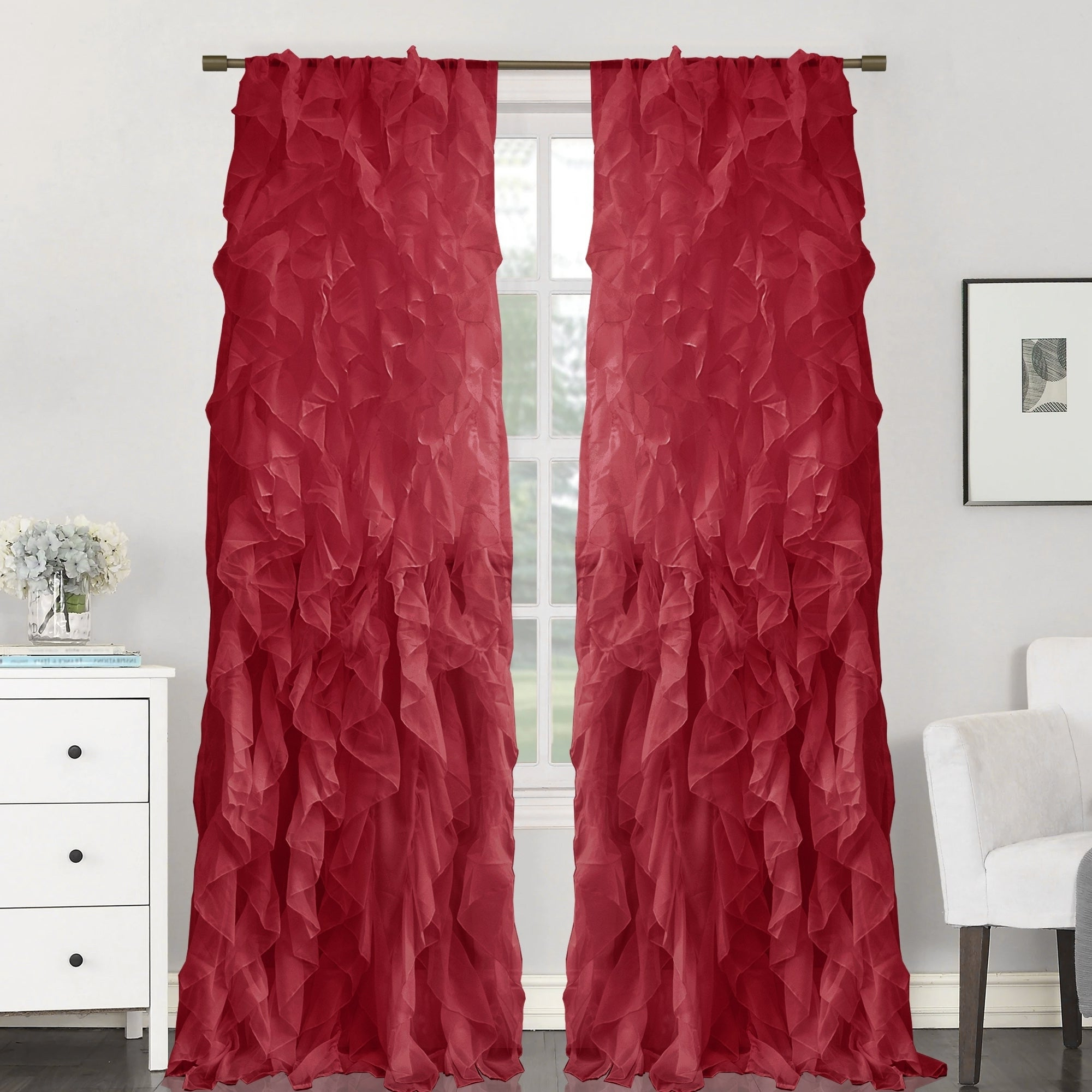 "Sheer Voile Waterfall Ruffled Tier Single Curtain Panels Throughout Well Known Sweet Home Collection Sheer Voile Waterfall Ruffled Tier 84 Inch Single  Curtain Panel – 84"" Long X 50"" Wide (View 15 of 20)"