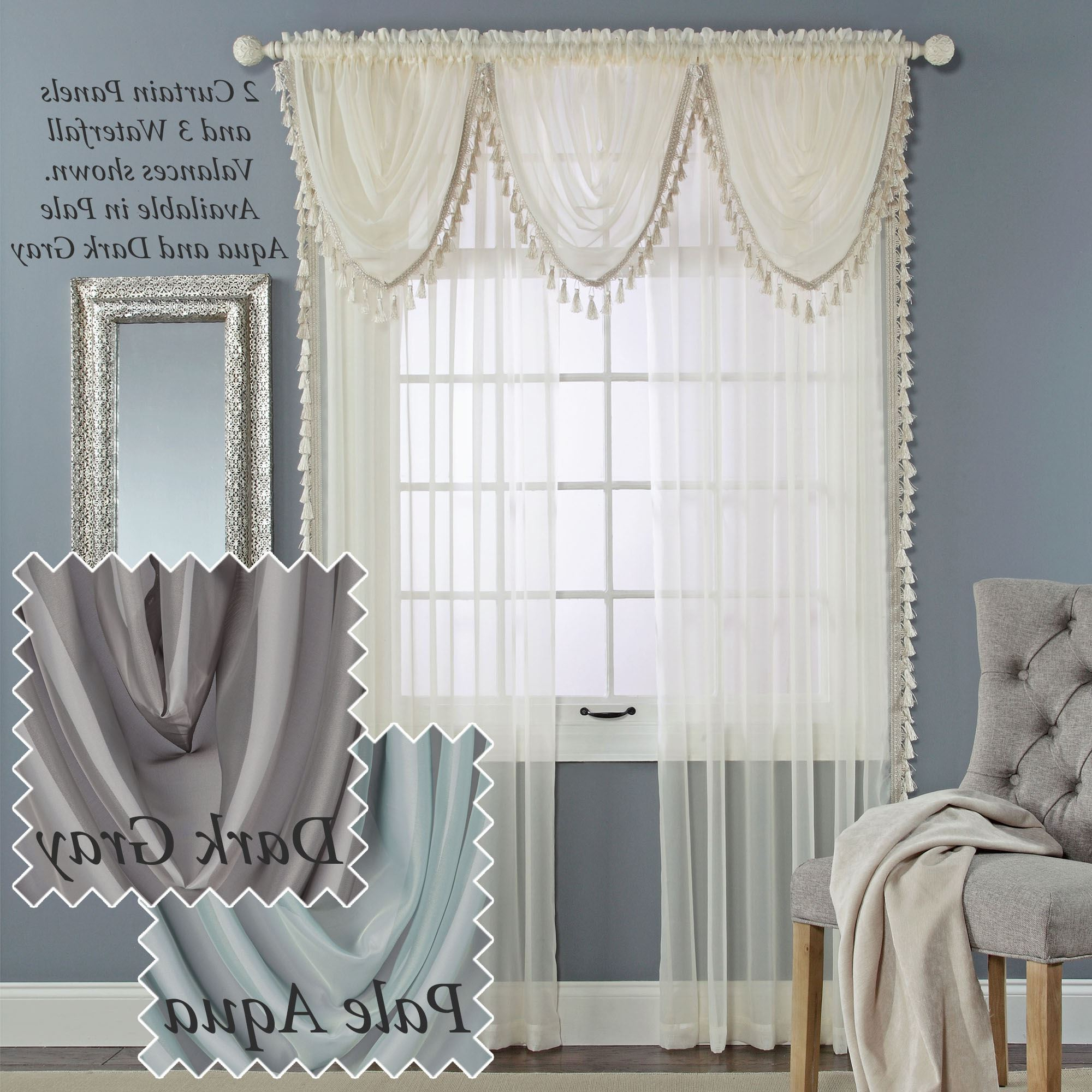 Sheer Voile Waterfall Ruffled Tier Single Curtain Panels Within Preferred Charlotte Sheer Voile Window Treatment (View 17 of 20)