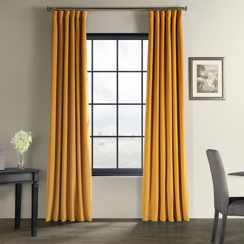 Signature Blackout Velvet Curtains For Best And Newest Exclusive Fabrics & Furnishings Signature Fool's Gold Blackout Velvet  Curtain – 50 In. W X 120 In (View 10 of 20)