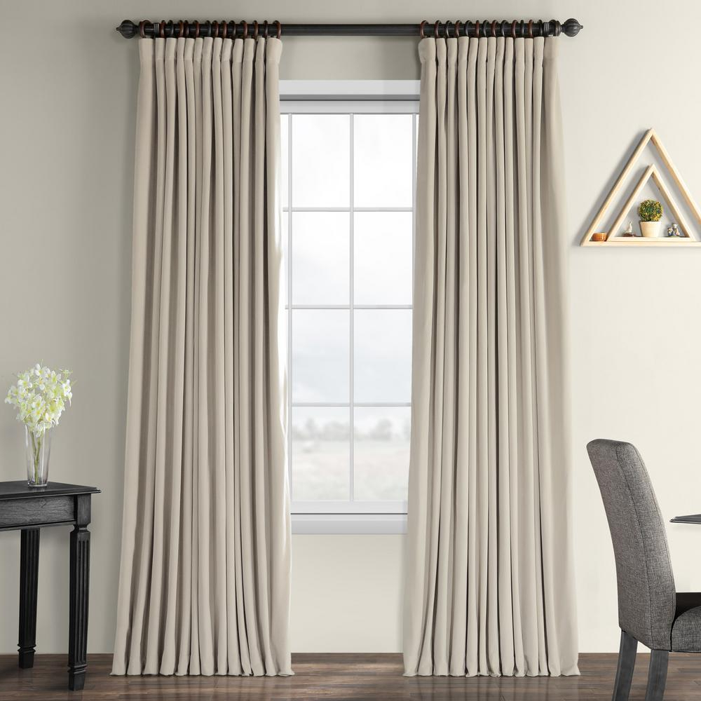 Signature Blackout Velvet Curtains Throughout Well Known Exclusive Fabrics & Furnishings Blackout Signature Cool Beige Doublewide  Blackout Velvet Curtain – 100 In. W X 84 In (View 14 of 20)