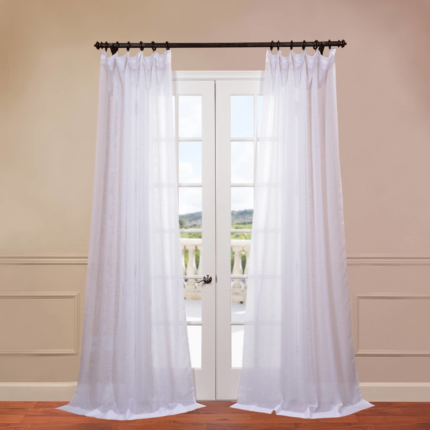 Signature Double Layered Sheer Single Curtain Panel Regarding Favorite Double Layer Sheer White Single Curtain Panels (View 17 of 20)