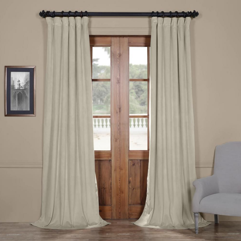 Signature Ivory Velvet Blackout Single Curtain Panels In Well Known Exclusive Fabrics & Furnishings Blackout Signature Cool (View 8 of 20)