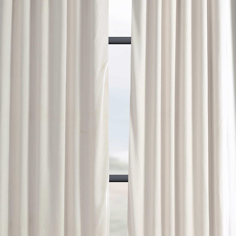 Signature Ivory Velvet Blackout Single Curtain Panels Within Fashionable Exclusive Fabrics Signature Ivory Velvet Blackout Single Curtain Panel (View 3 of 20)