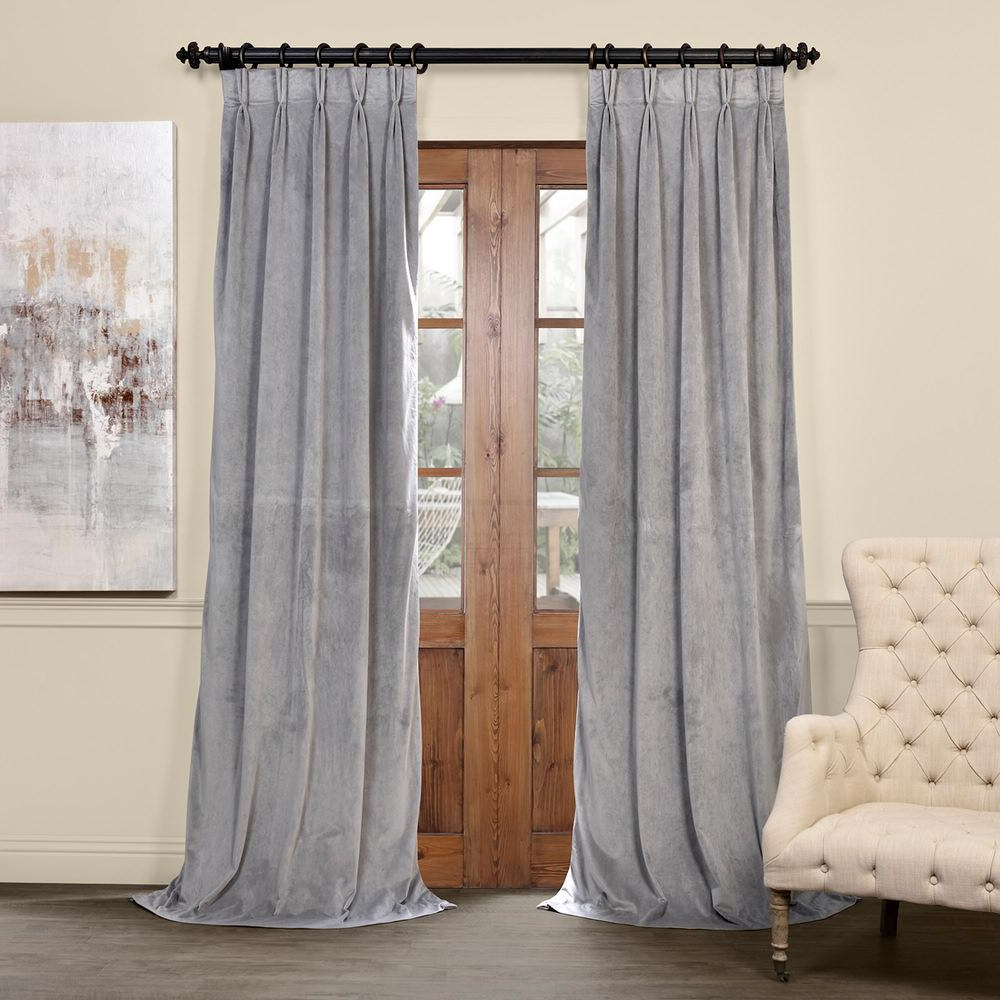 Signature Pinch Pleated Blackout Solid Velvet Curtain Panels Throughout Favorite Exclusive Fabrics & Furnishings Blackout Signature Silver Grey Pleated – 25 In. W X 108 In (View 14 of 20)