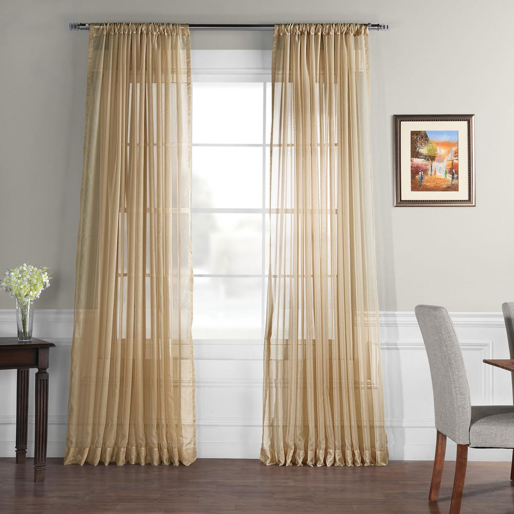 Signature White Double Layer Sheer Curtain Panels Within Preferred Exclusive Fabrics & Furnishings Doublewide Solid Soft Tan Voile Polyester Panel – 100 In. W X 84 In (View 18 of 20)