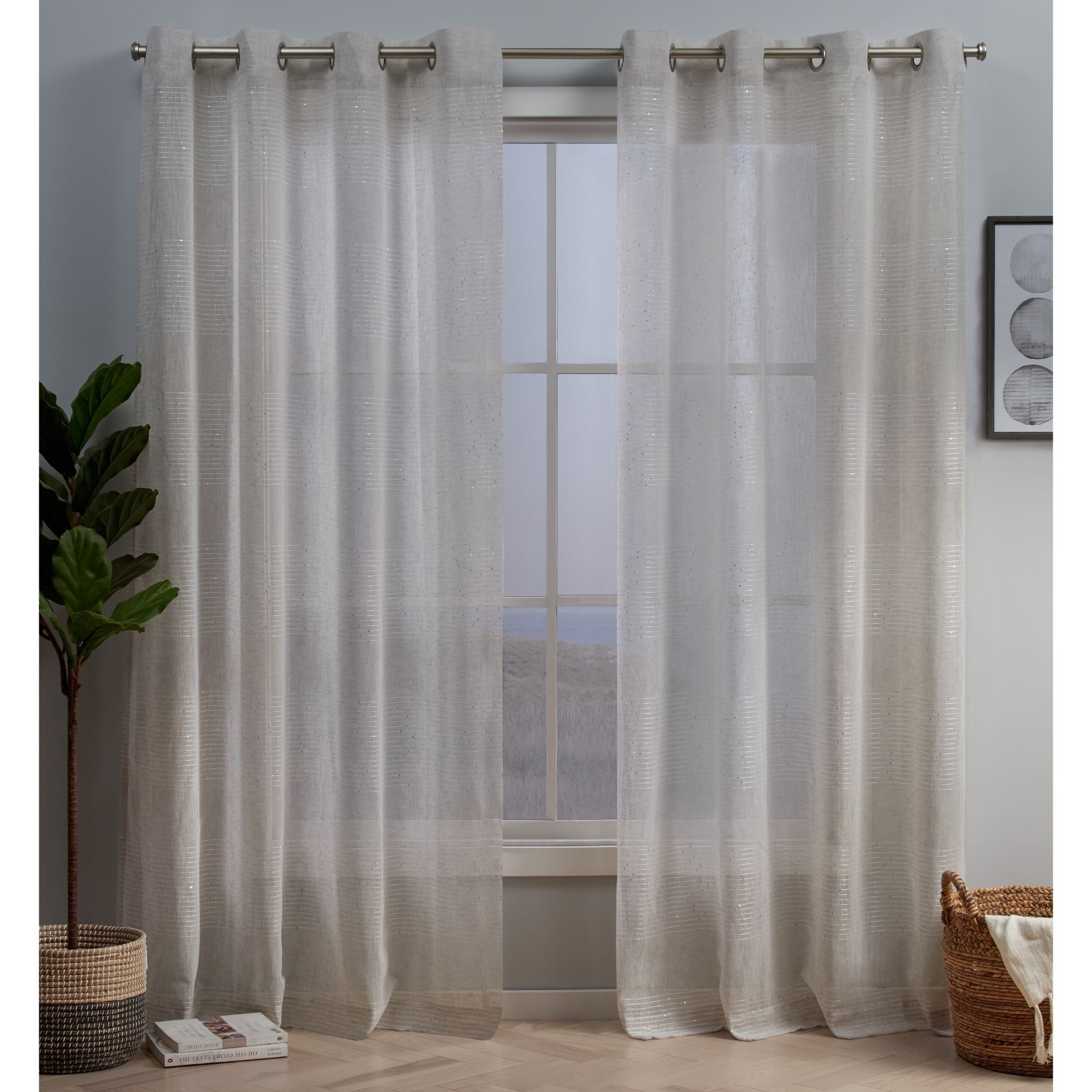 Silver Orchid Robey Embellished Sheer Grommet Top Curtain Panel Pair With Regard To Latest Penny Sheer Grommet Top Curtain Panel Pairs (View 2 of 20)