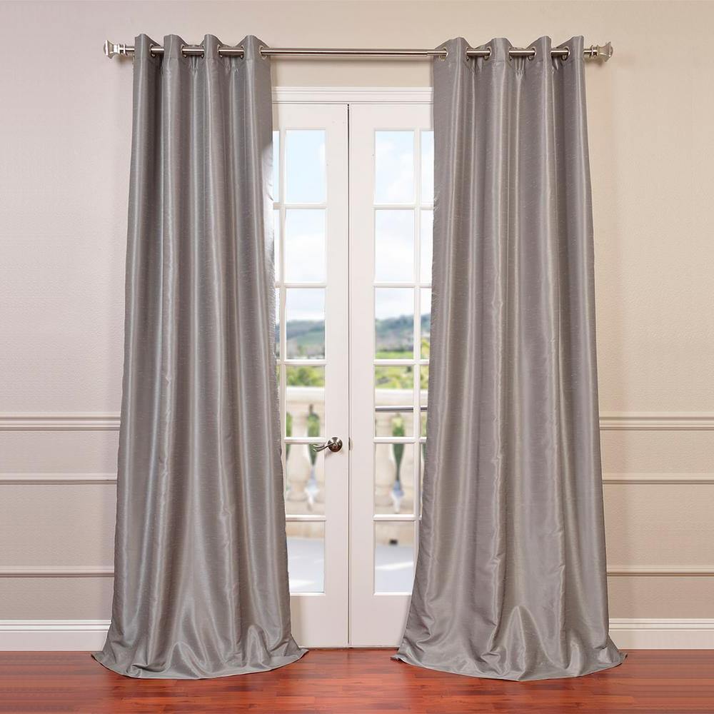 Silver Vintage Faux Textured Silk Curtain Panels Intended For Favorite Exclusive Fabrics & Furnishings Silver Grommet Blackout Vintage Textured  Faux Dupioni Silk Curtain – 50 In. W X 84 In (View 11 of 20)