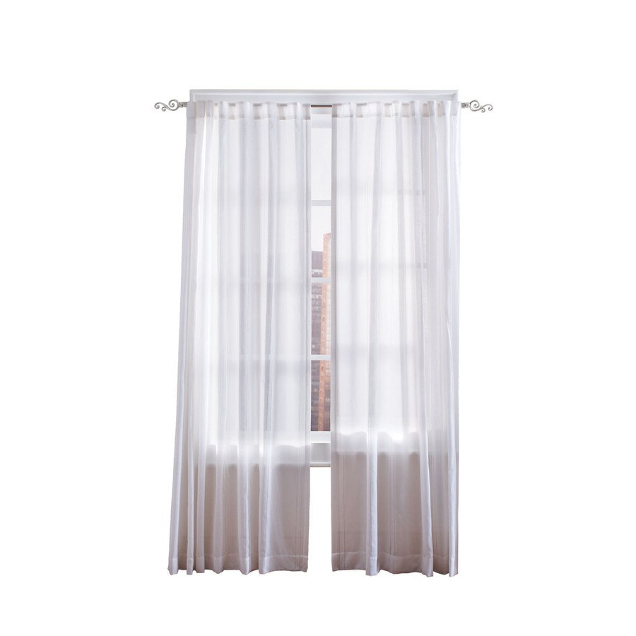 Simply Classic Carolyn 84 In White Polyester Back Tab Light Throughout Trendy Light Filtering Sheer Single Curtain Panels (View 16 of 20)