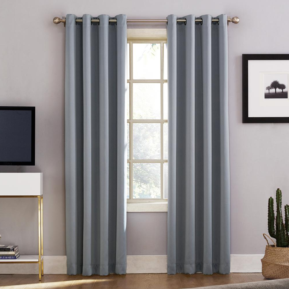 Single Curtain Panels In Newest Sun Zero Oslo Woven Home Theater Grade Blackout Haze Grommet Single Curtain Panel – 52 In. W X 63 In (View 11 of 20)