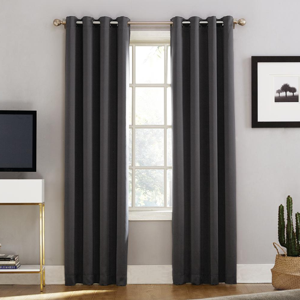 Single Curtain Panels Pertaining To Trendy Sun Zero Oslo Woven Home Theater Grade Blackout Coal Grommet Single Curtain Panel – 52 In. W X 95 In (View 16 of 20)