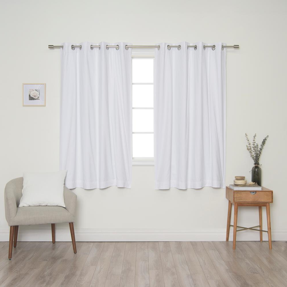 Solid Cotton Curtain Panels Inside Well Known Best Home Fashion White Solid Cotton Blackout Thermal Grommet Curtain Panel Set – 52 In. X 63 In (View 12 of 20)
