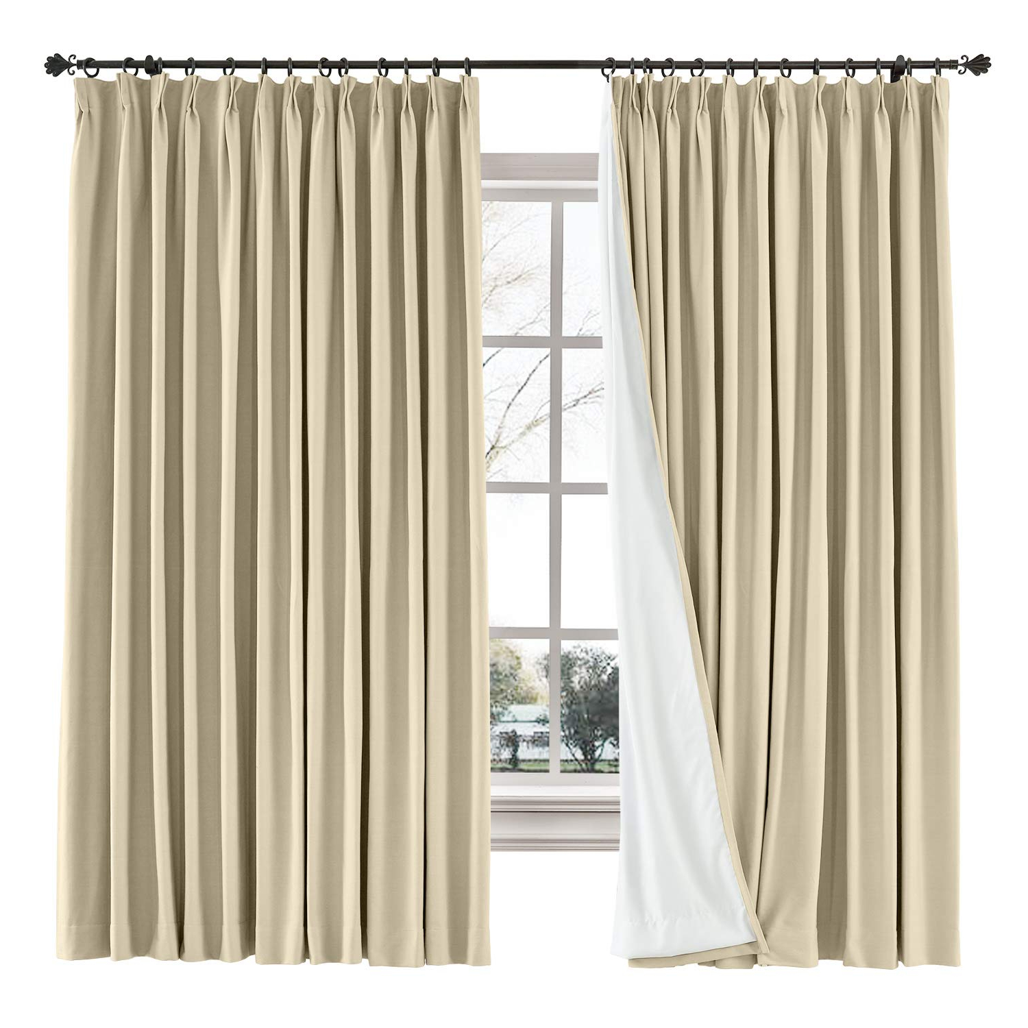 """Solid Cotton Pleated Curtains Throughout Favorite Chadmade 60"""" W X 84"""" L Solid Cotton Linen Curtain Panel Pinch Pleated Drape Light Block Curtain Kid Room Drape Bedroom Living Room Sliding Door Panel, (View 2 of 20)"""