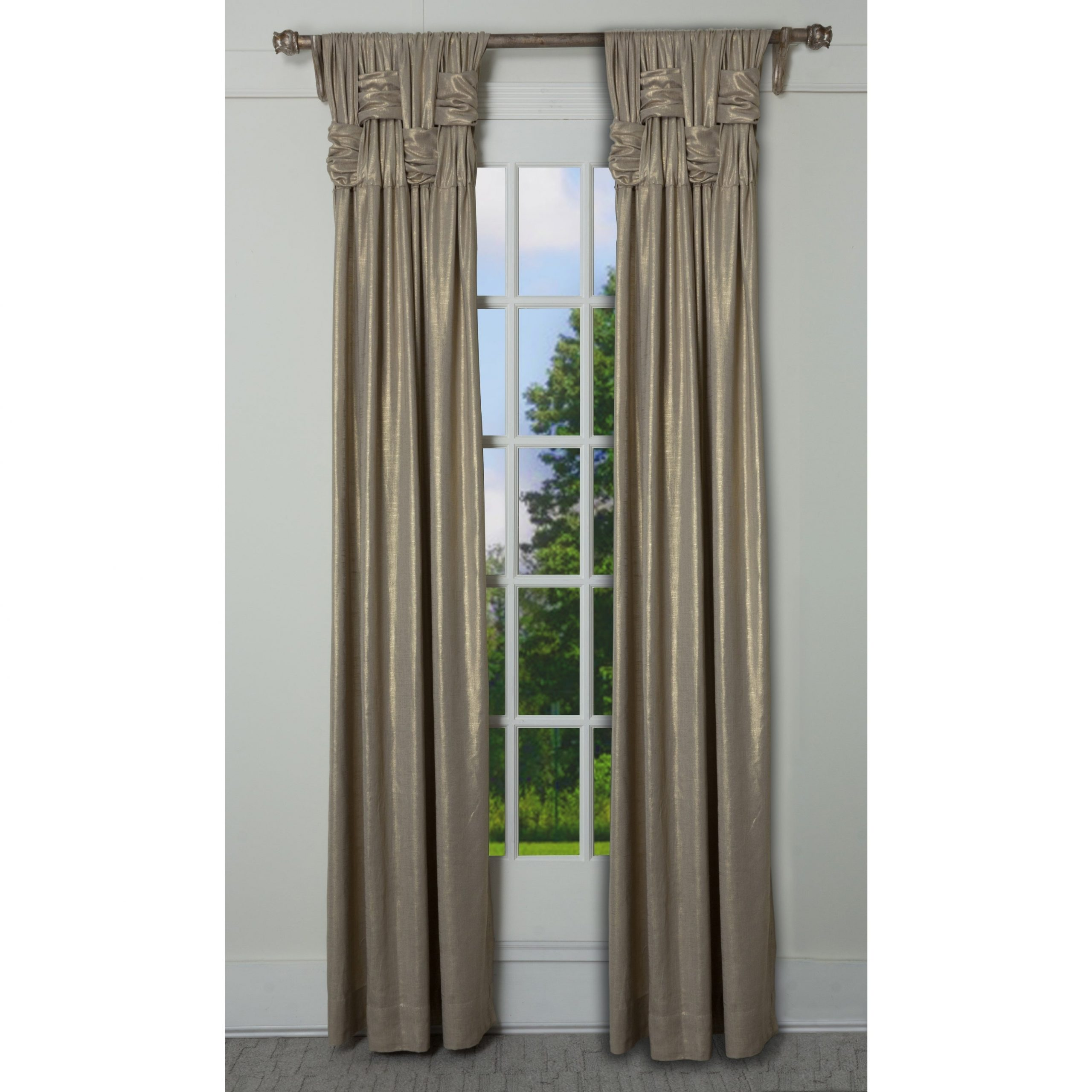 """Solid Cotton Pleated Curtains With Regard To Fashionable Rt Dressings Chelsea Brook Luxe Cotton Shimmer Single Curtain Panel – 15"""" Wide X 95"""" Length (View 20 of 20)"""