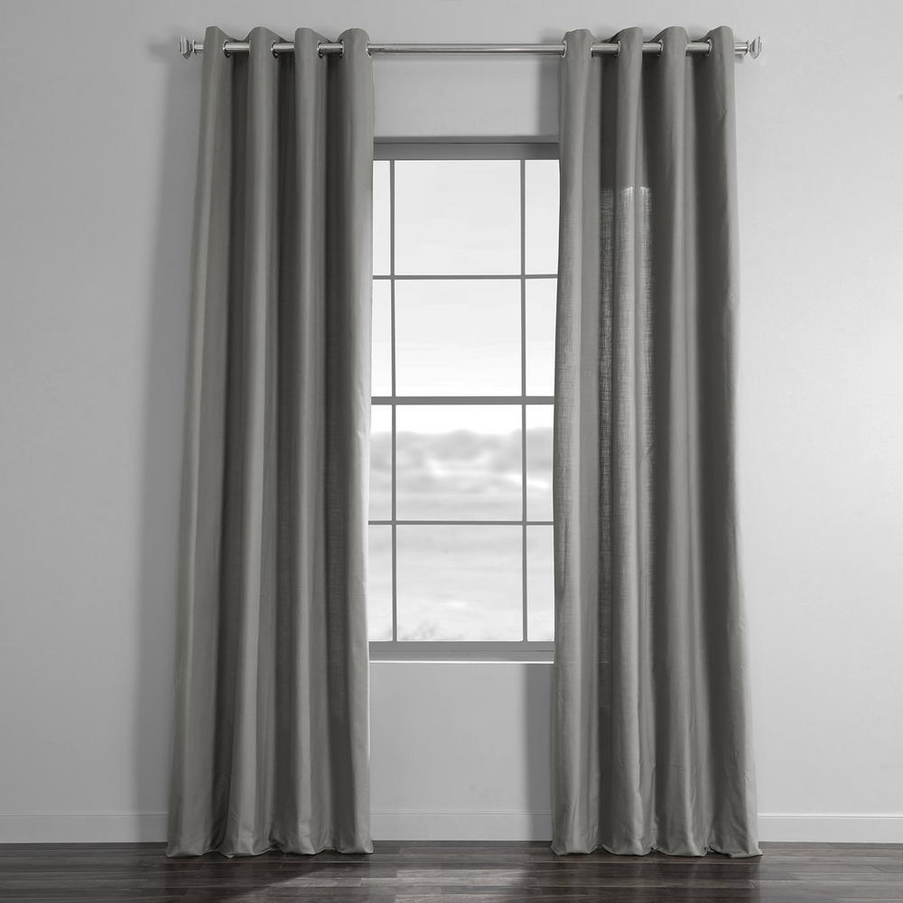 Solid Country Cotton Linen Weave Curtain Panels With 2020 Exclusive Fabrics & Furnishings Shadow Grey Solid Country Cotton Linen  Weave Grommet Curtain – 50 In. W X 108 In (View 16 of 20)