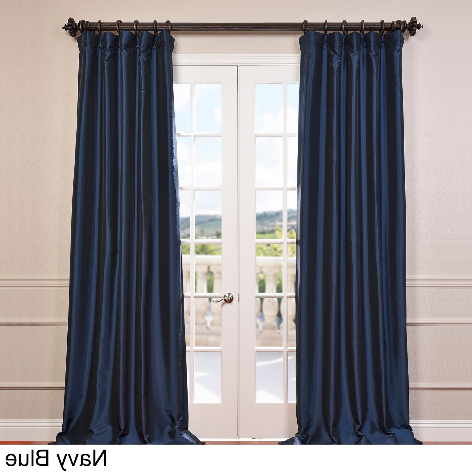 Solid Faux Silk Taffeta Graphite Single Curtain Panels For 2021 Half Price Drapes Ptch Bo005 108 Blackout Faux Silk Taffeta (View 8 of 20)