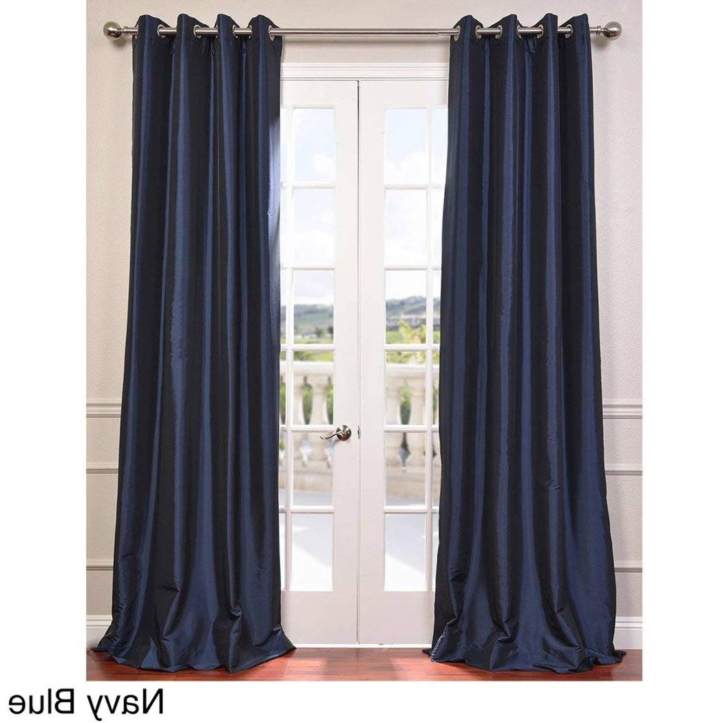 Solid Faux Silk Taffeta Graphite Single Curtain Panels Intended For Well Liked Amazon: Osd 1pc Navy Blue Faux Silk Taffeta Window (View 14 of 20)