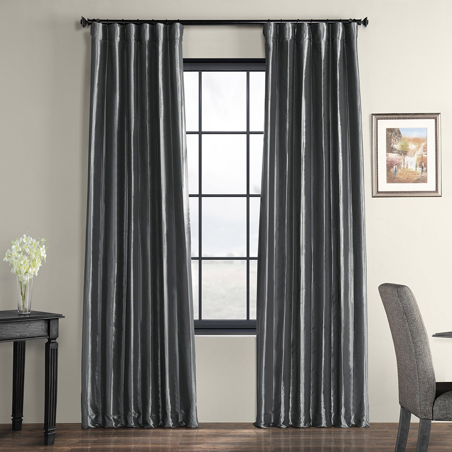 Featured Photo of Solid Faux Silk Taffeta Graphite Single Curtain Panels