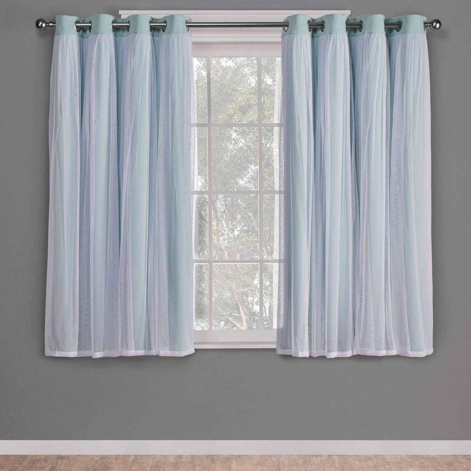 Solid Grommet Top Curtain Panel Pairs Pertaining To Trendy Exclusive Home Curtains Catarina Layered Solid Blackout And Sheer Window Curtain Panel Pair With Grommet Top, 52x63, Aqua, 2 Piece (View 3 of 20)