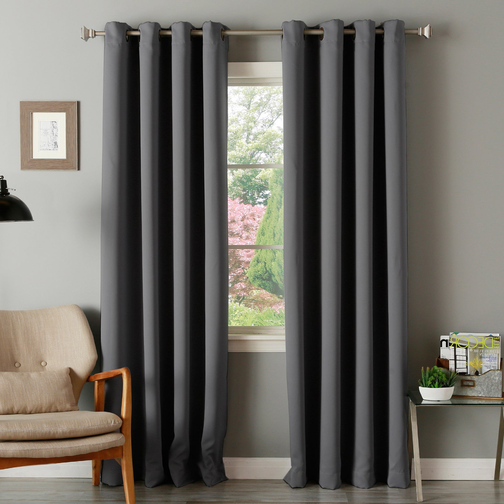Solid Thermal Insulated Blackout Curtain Panel Pairs Inside Fashionable Aurora Home Thermal Insulated Blackout Grommet Top 84 Inch Curtain Panel Pair – 52 X (View 4 of 20)