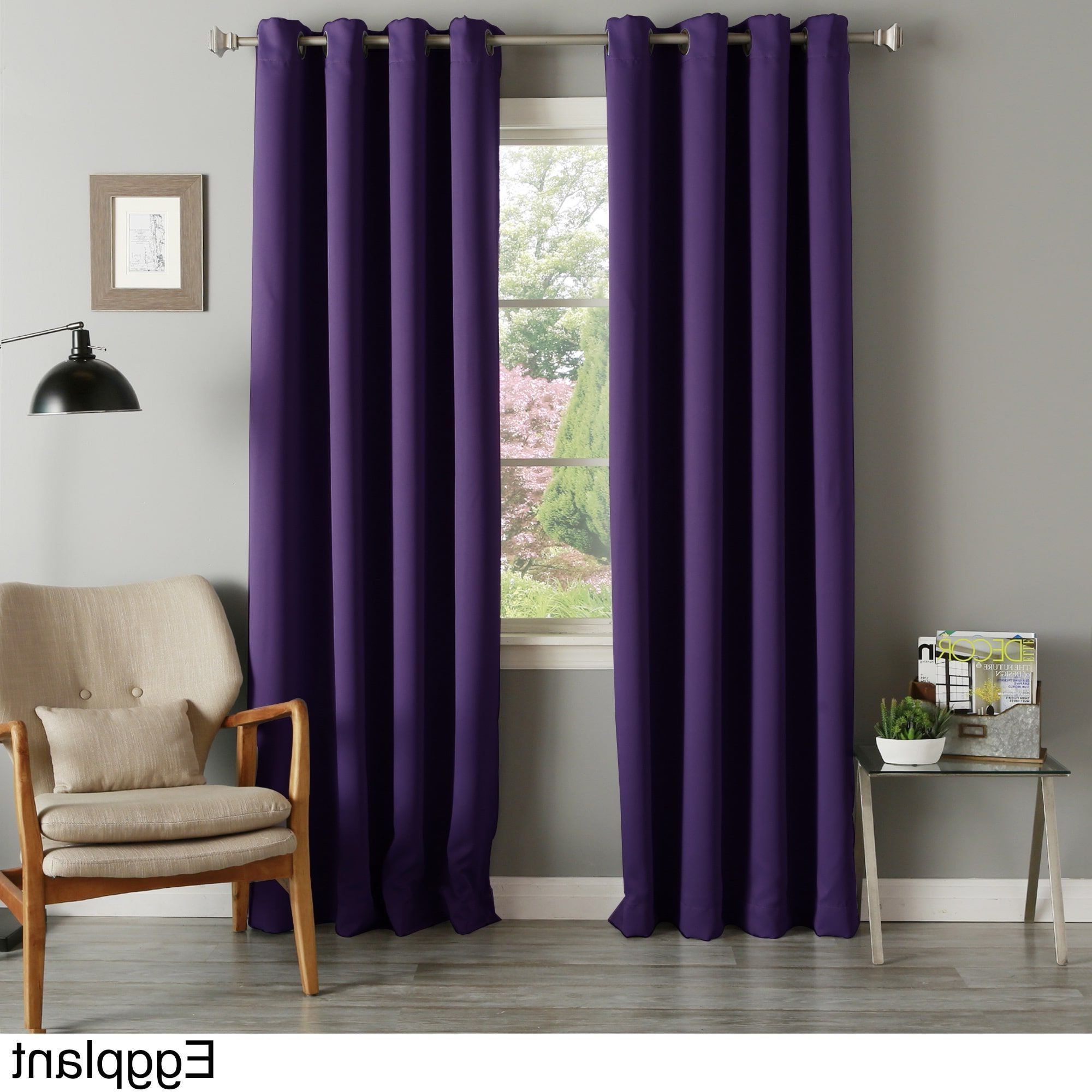 Solid Thermal Insulated Blackout Curtain Panel Pairs With Regard To Fashionable Aurora Home Grommet Top Thermal Insulated 96 Inch Blackout (View 19 of 20)