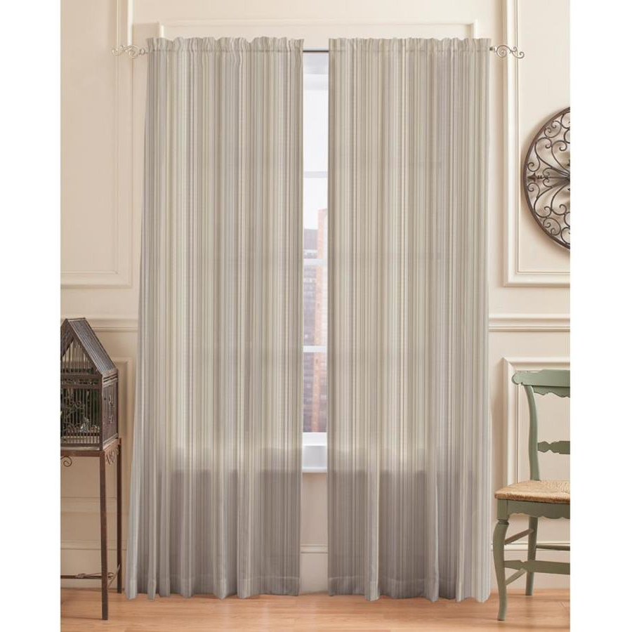 Springmaid Sheer Stripe 95 In Taupe Polyester Light In Trendy Light Filtering Sheer Single Curtain Panels (View 15 of 20)
