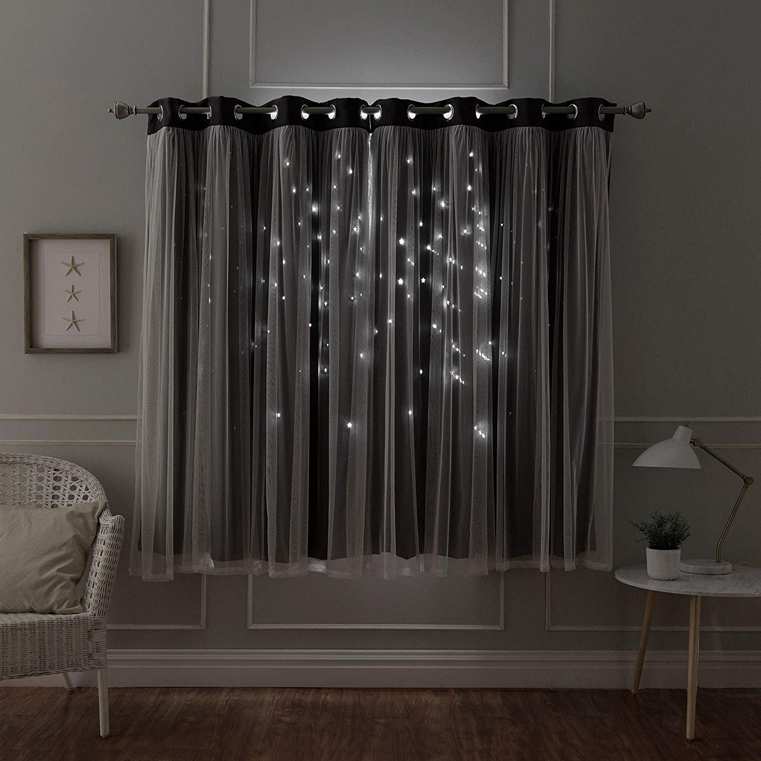 Star Punch Tulle Overlay Blackout Curtain Panel Pairs In Trendy Amazon: Aurora Home Star Punch Tulle Overlay Blackout (View 3 of 20)