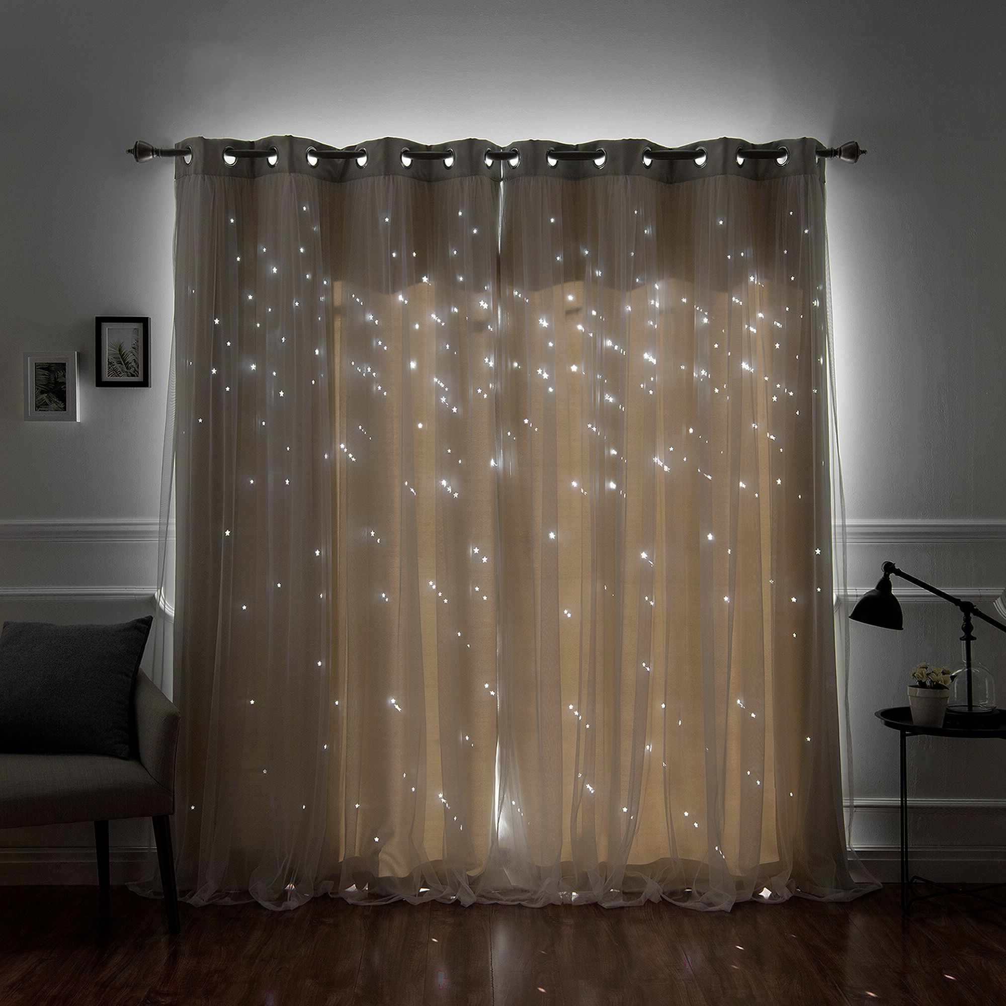 Star Punch Tulle Overlay Blackout Curtain Panel Pairs Intended For Widely Used Aurora Home Star Punch Tulle Overlay Blackout Curtain Panel Pair (View 2 of 20)