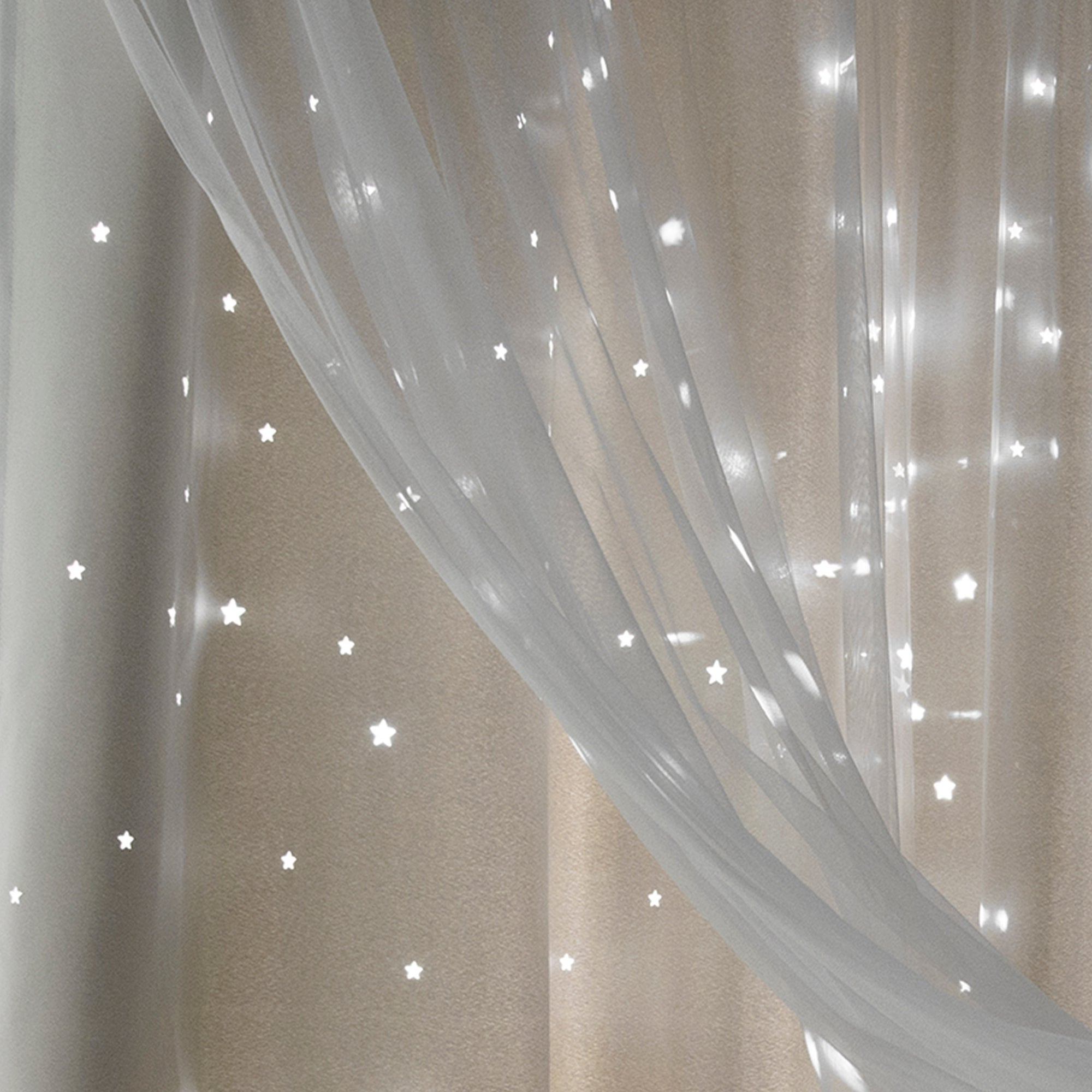 Star Punch Tulle Overlay Blackout Curtain Panel Pairs Pertaining To Newest Aurora Home Star Punch Tulle Overlay Blackout Curtain Panel Pair (View 4 of 20)